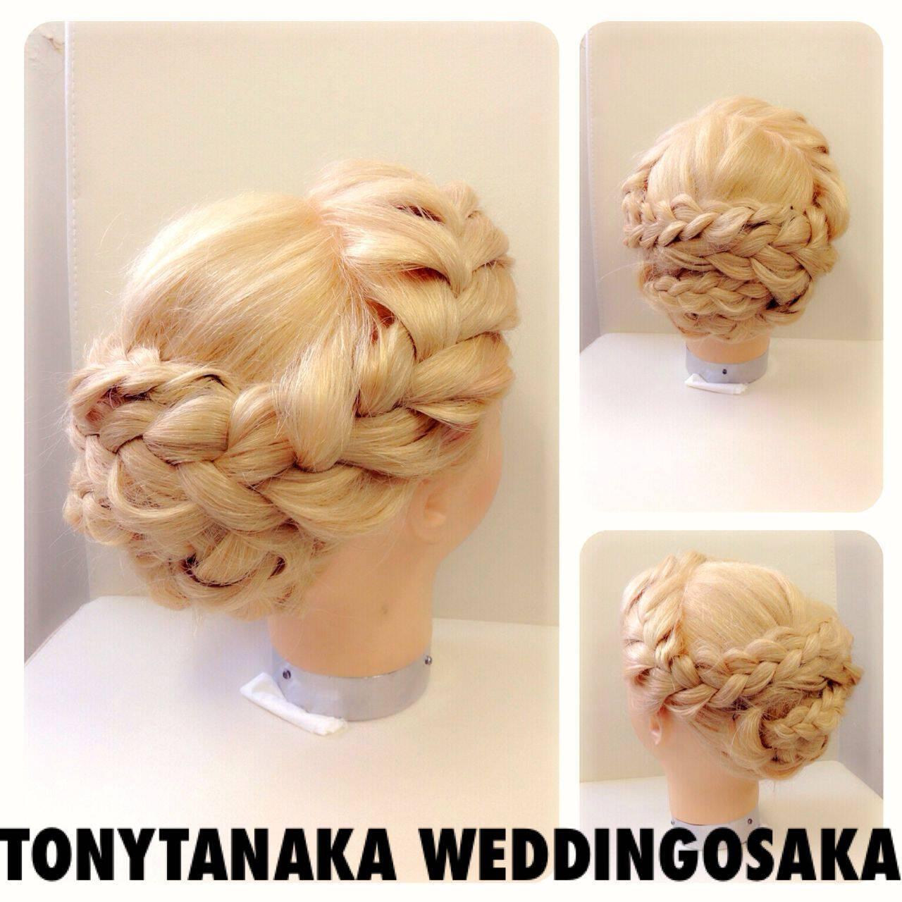 ヘアアレンジ コンサバ 編み込み 結婚式ヘアスタイルや髪型の写真・画像