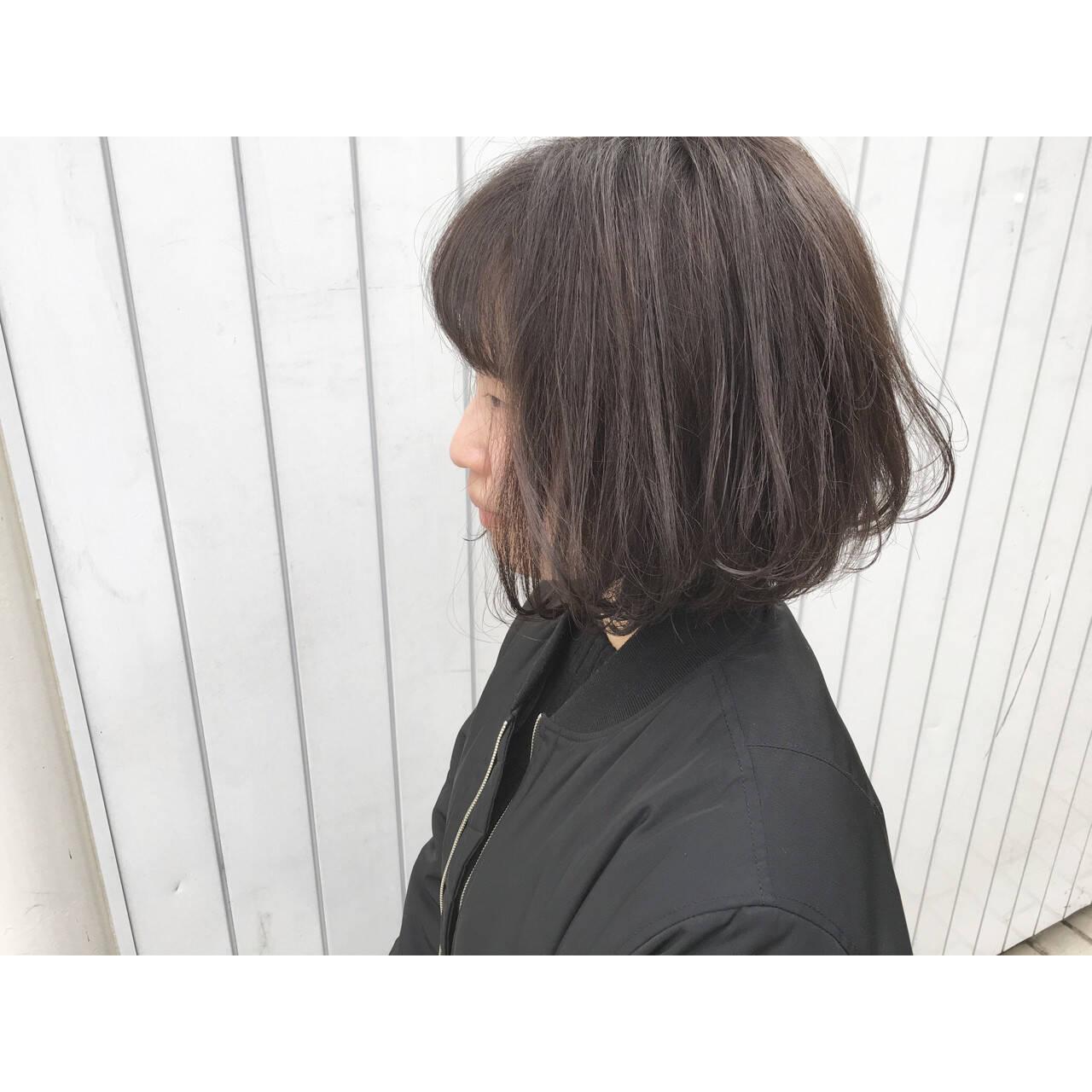 ボブ フェミニン ストリート 暗髪ヘアスタイルや髪型の写真・画像