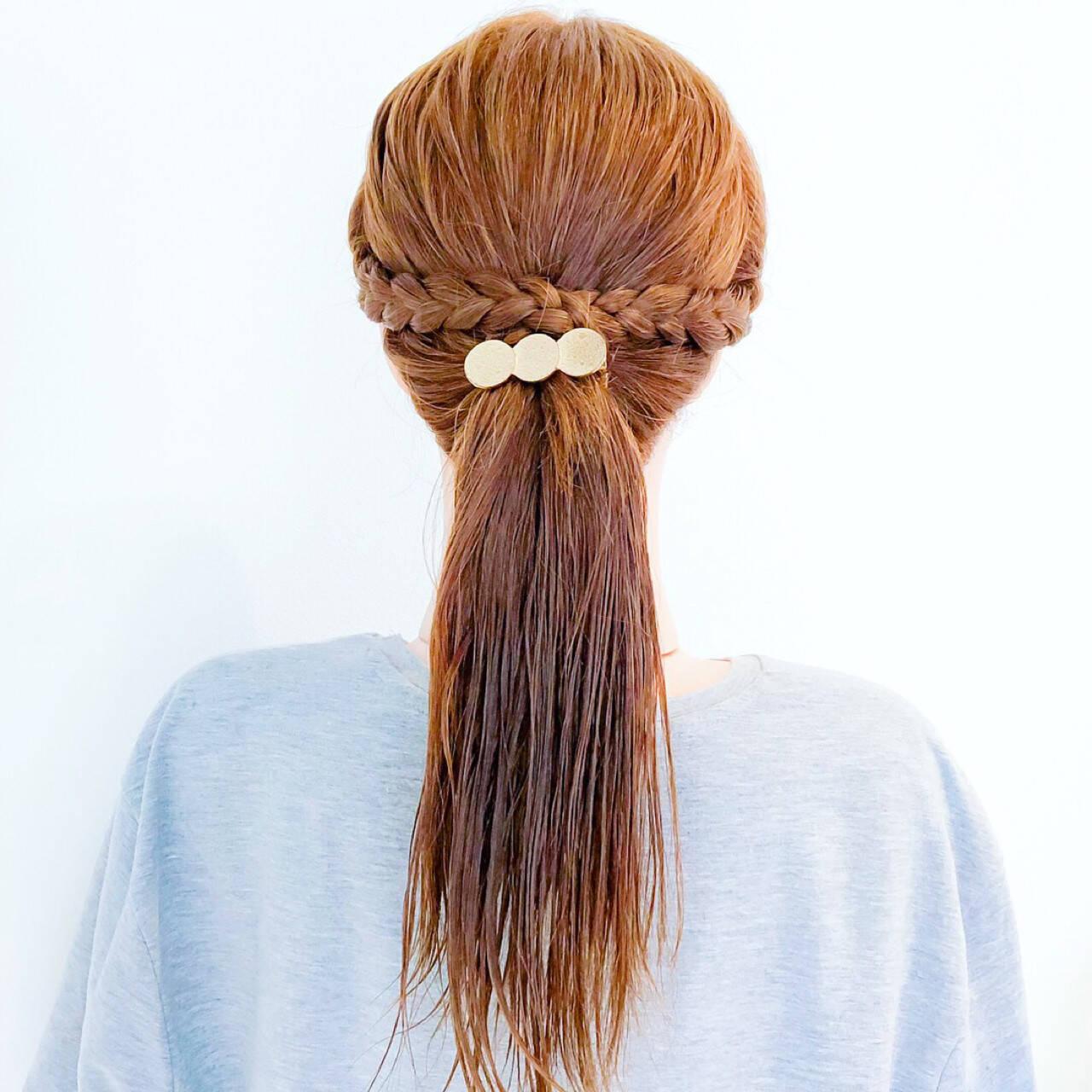 涼しげ 夏 ポニーテール オフィスヘアスタイルや髪型の写真・画像