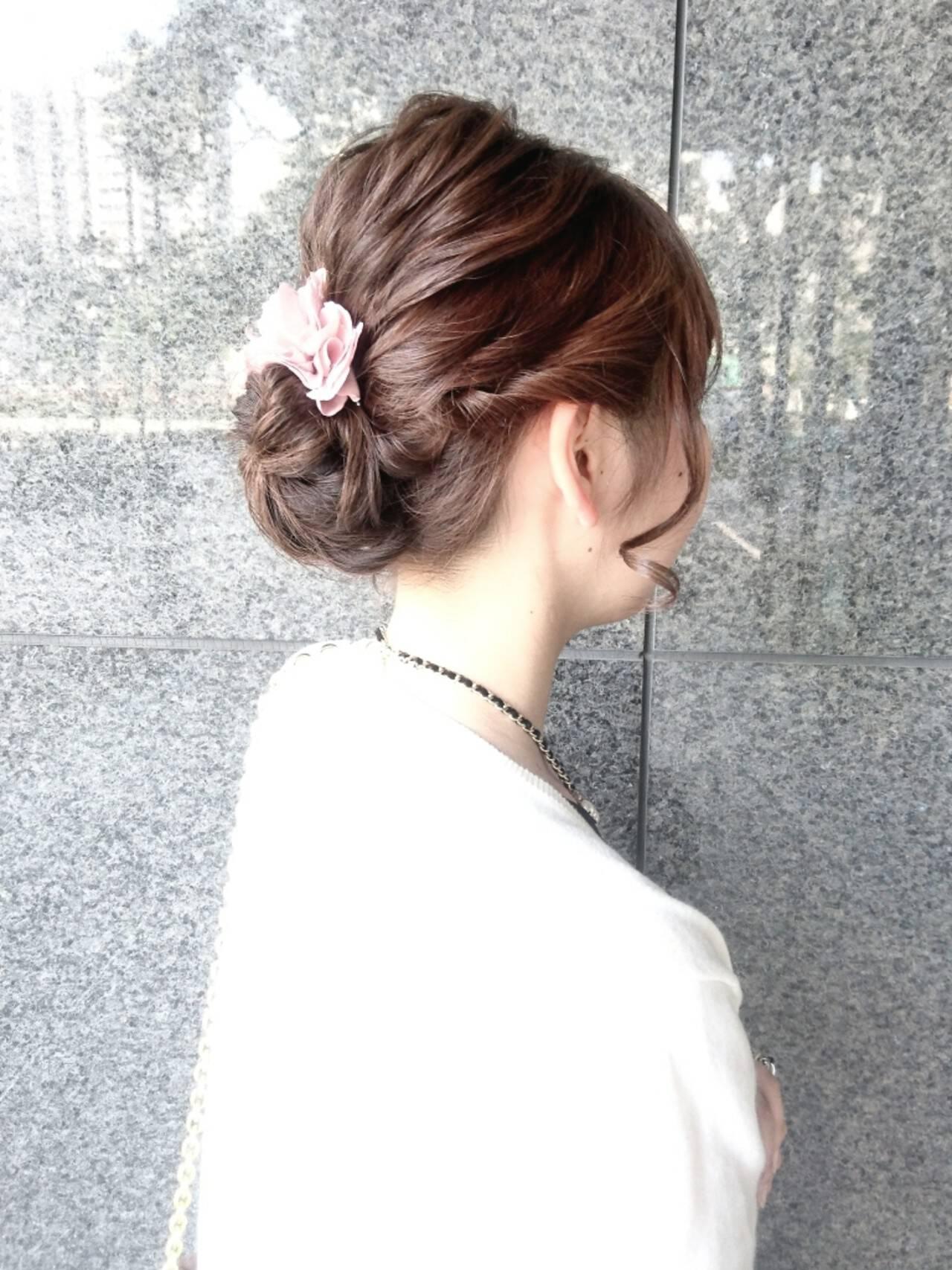 ミディアム ヘアアレンジ ナチュラル ハーフアップヘアスタイルや髪型の写真・画像
