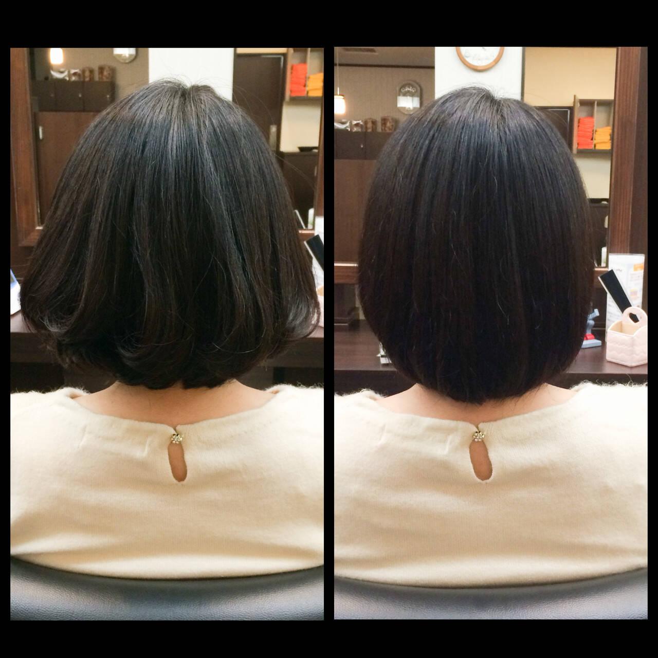 フェミニン ボブ 大人かわいい 黒髪ヘアスタイルや髪型の写真・画像