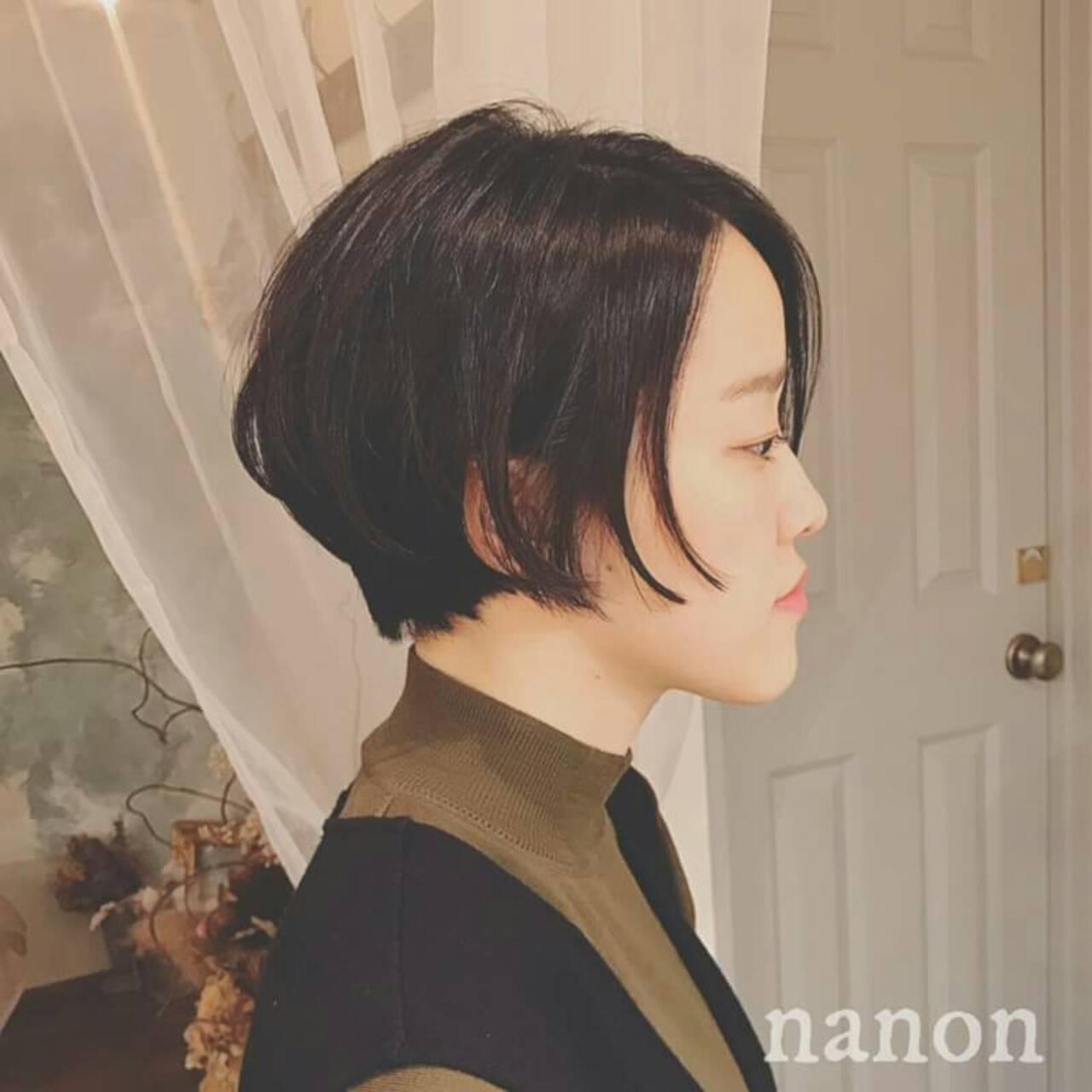 ショート 外国人風 冬 黒髪ヘアスタイルや髪型の写真・画像