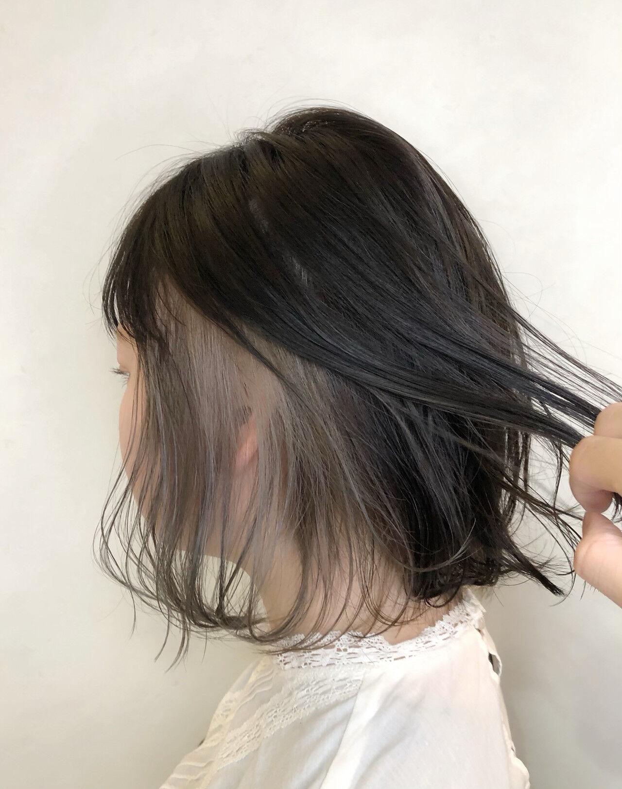 インナーカラー ボブ インナーカラーホワイト インナーカラーシルバーヘアスタイルや髪型の写真・画像