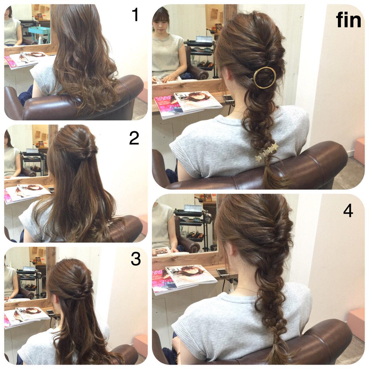 編み込み ヘアアレンジ ロング くるりんぱヘアスタイルや髪型の写真・画像