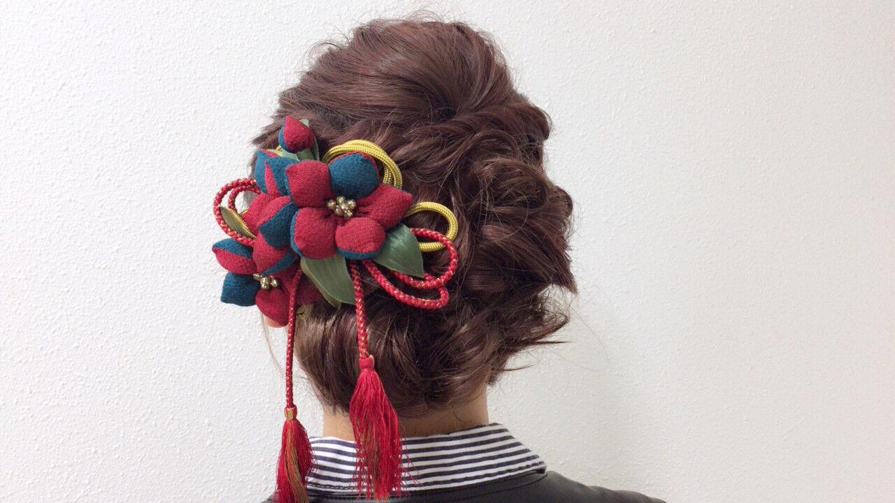 成人式 謝恩会 ヘアアレンジ ガーリーヘアスタイルや髪型の写真・画像