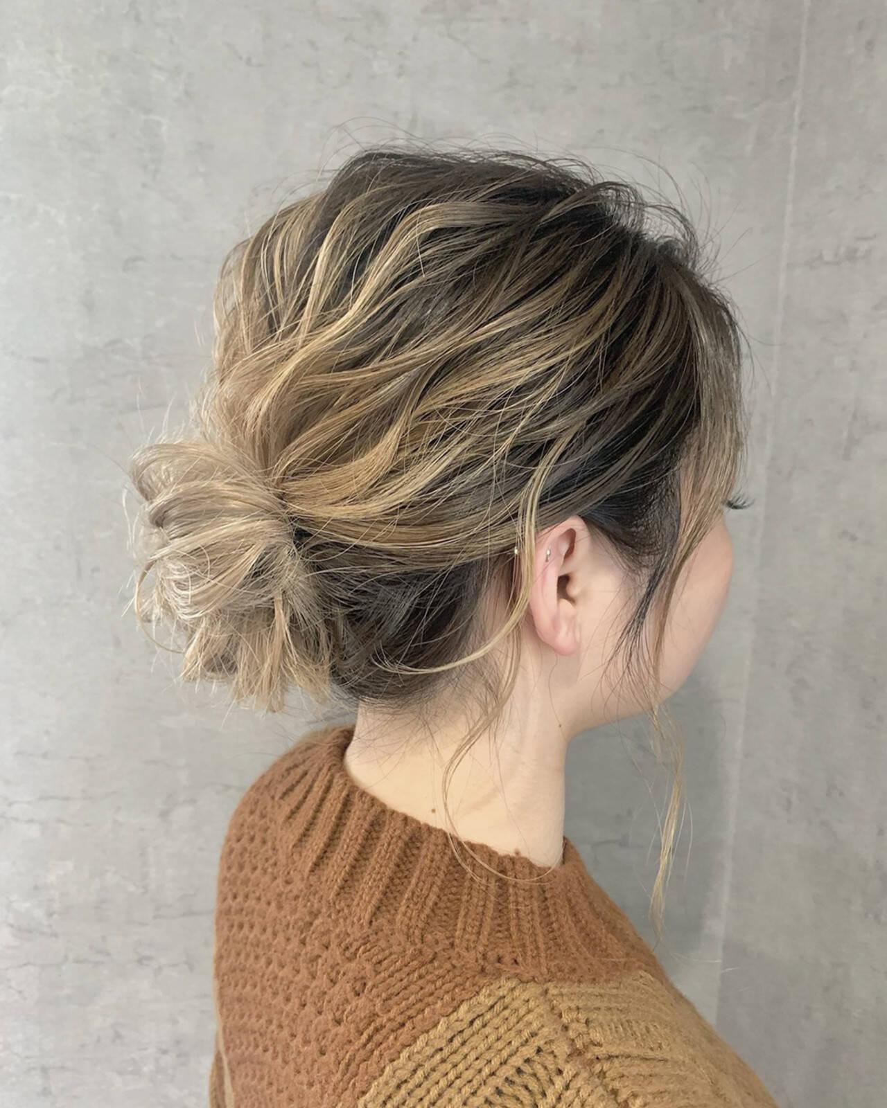 ヘアセット ミディアム 簡単ヘアアレンジ ナチュラルヘアスタイルや髪型の写真・画像