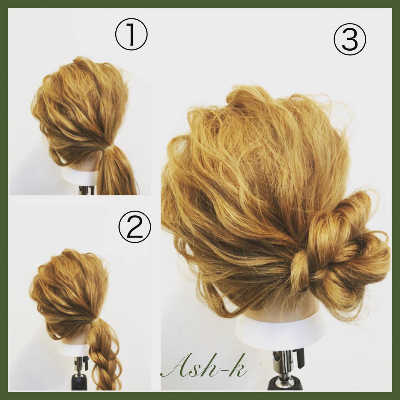 結婚式 簡単ヘアアレンジ セミロング ナチュラルヘアスタイルや髪型の写真・画像