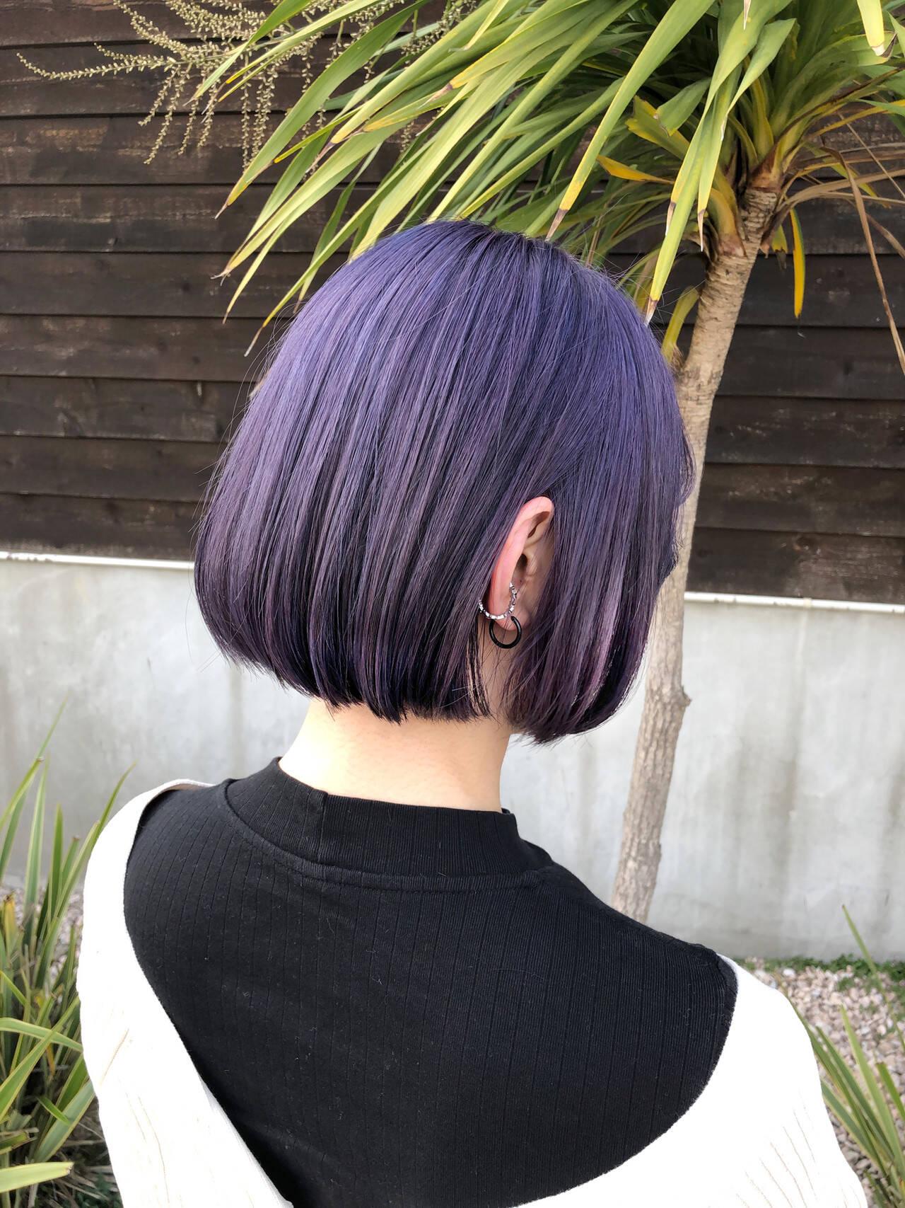 ラベンダー ラベンダーグレージュ ラベンダーカラー モードヘアスタイルや髪型の写真・画像