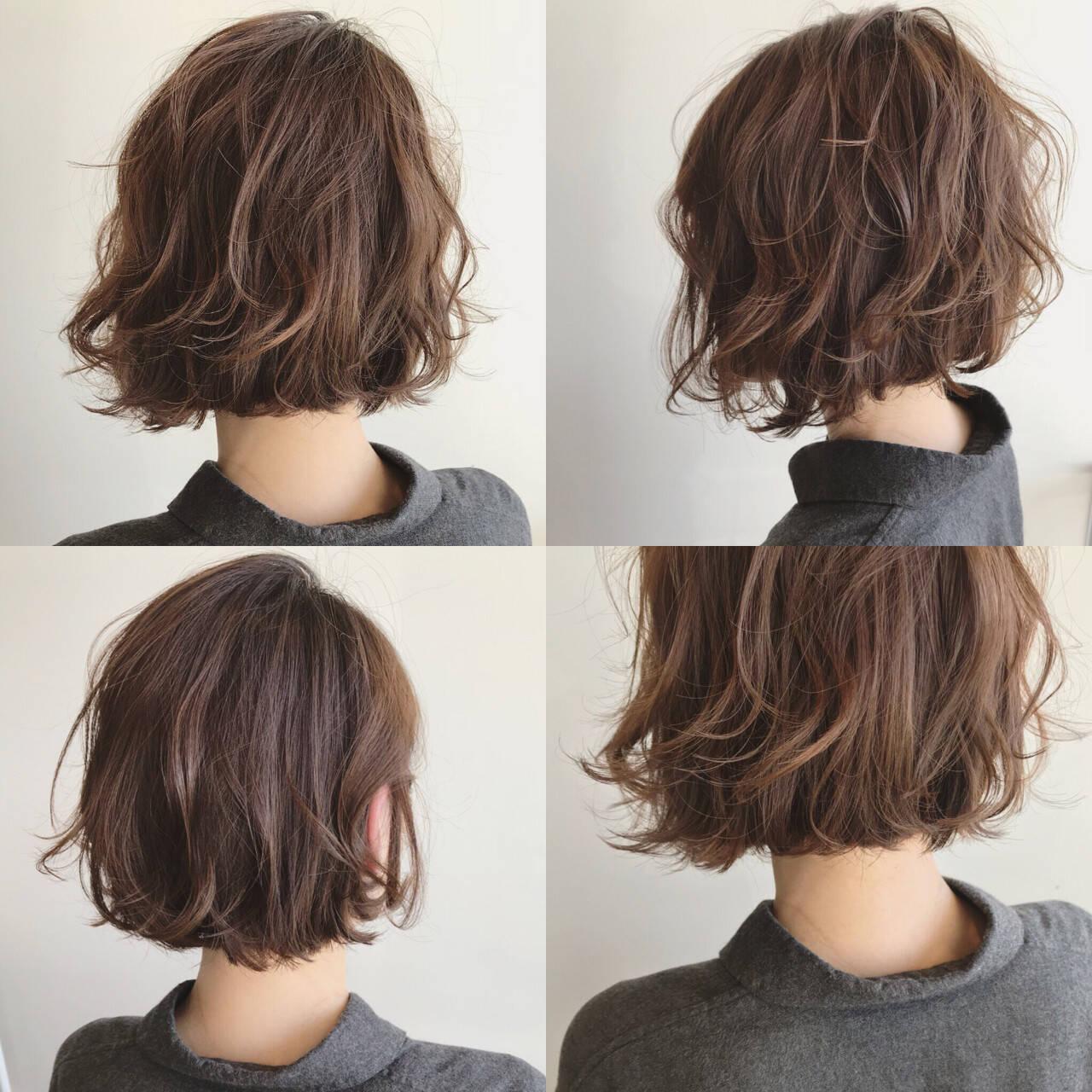 ボブ ロブ フェミニン グレージュヘアスタイルや髪型の写真・画像