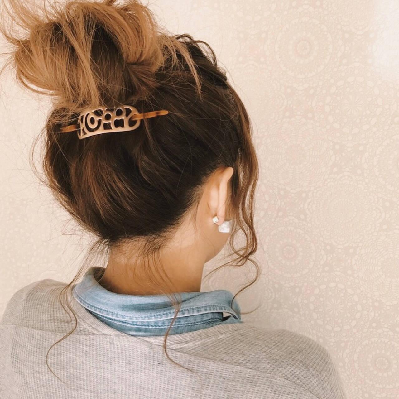 波ウェーブ デート お団子 ヘアアレンジヘアスタイルや髪型の写真・画像