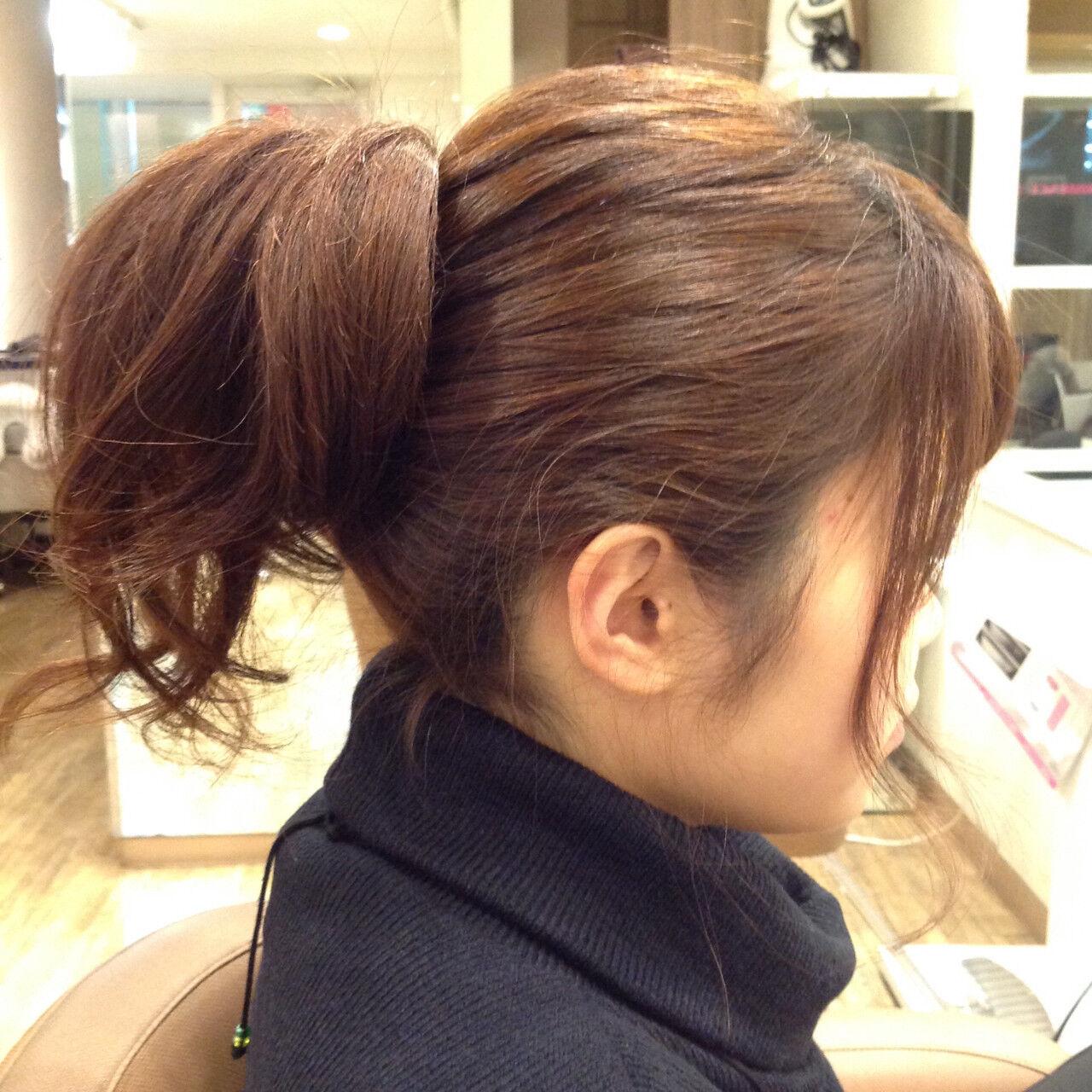 逆りんぱ 簡単ヘアアレンジ 大人かわいい ミディアムヘアスタイルや髪型の写真・画像