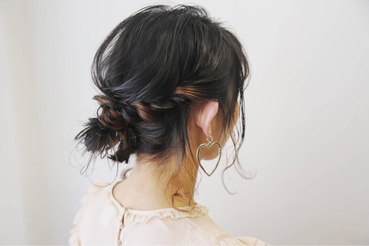 ヘアアレンジ 簡単ヘアアレンジ デート ミディアムヘアスタイルや髪型の写真・画像