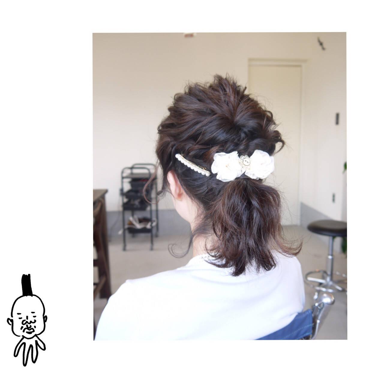 ミディアム ヘアアレンジ ポニーテール 結婚式ヘアスタイルや髪型の写真・画像