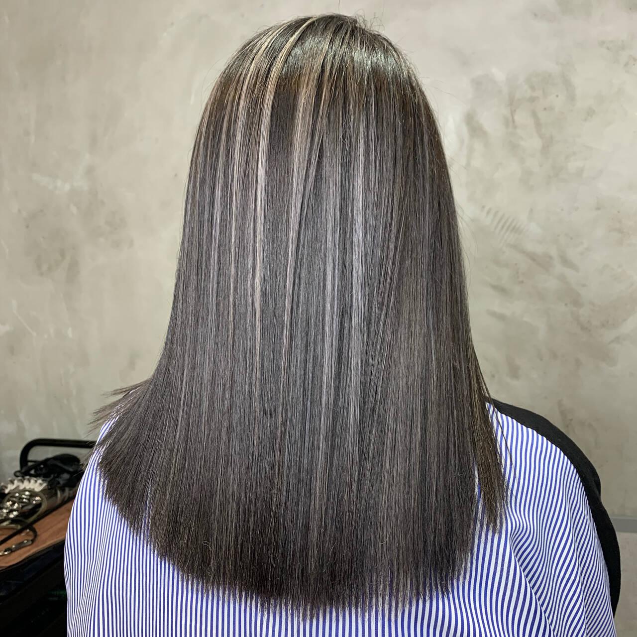 極細ハイライト ハイライト モード 3Dハイライトヘアスタイルや髪型の写真・画像