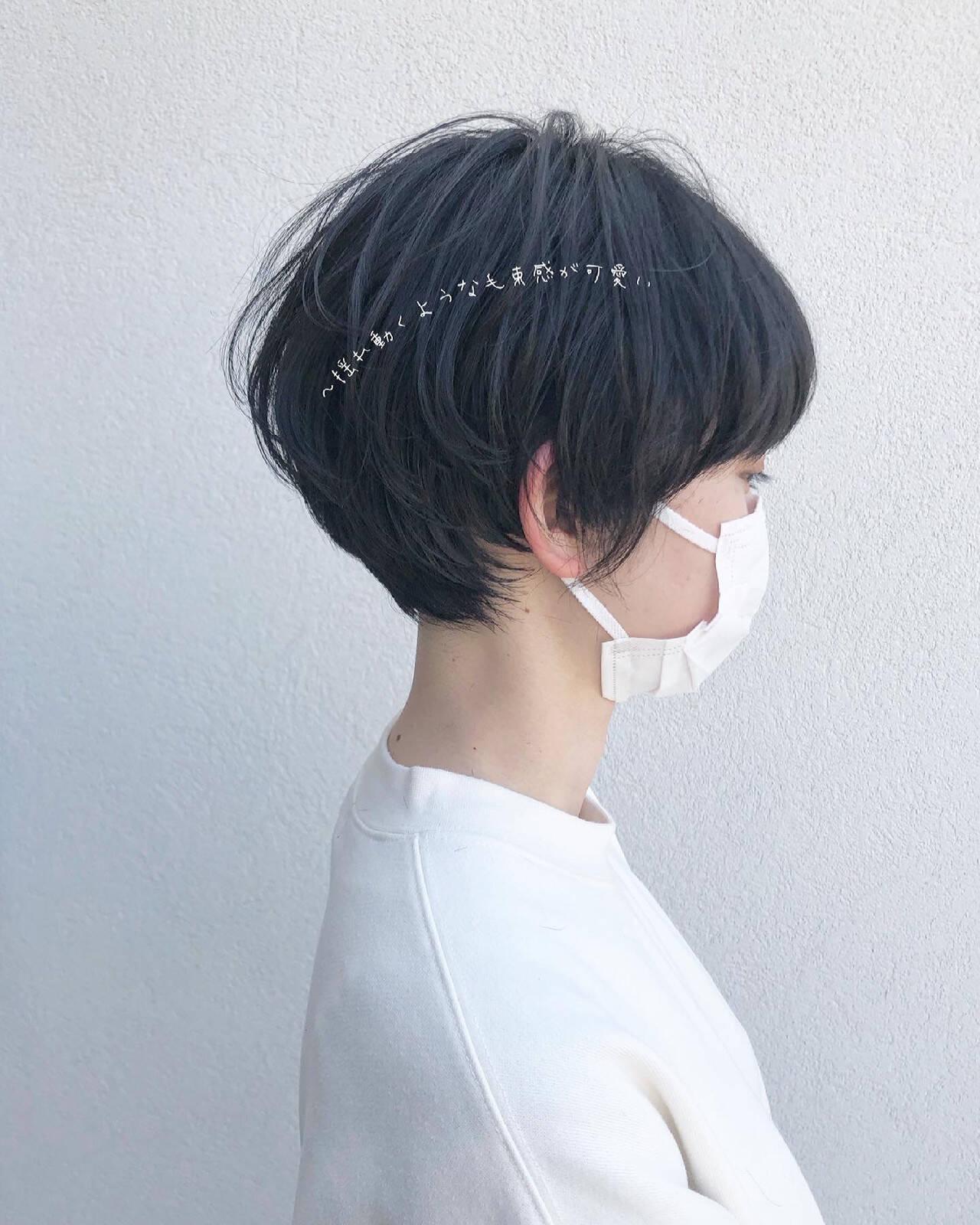 ショートヘア ツヤ 丸みショート ショートヘアスタイルや髪型の写真・画像