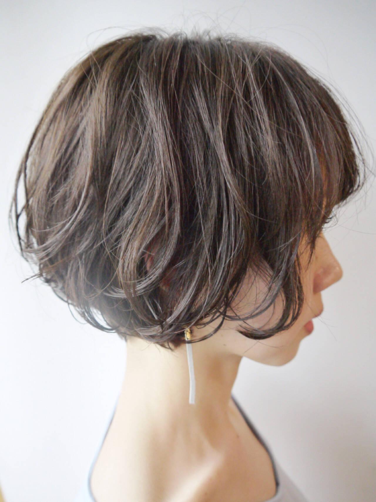 ウェーブ ショート ナチュラル ショートヘアスタイルや髪型の写真・画像