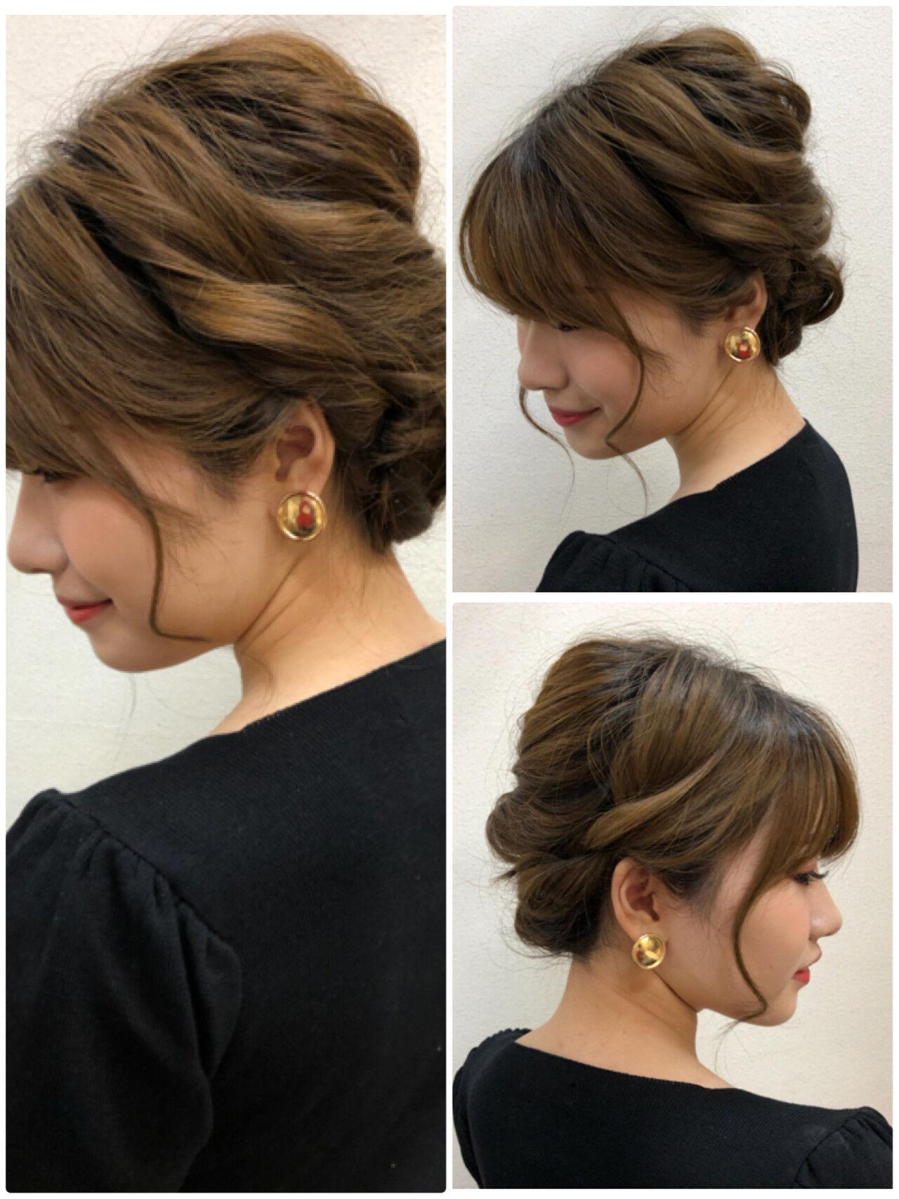 ガーリー 結婚式 ゆるふわセット セミロングヘアスタイルや髪型の写真・画像