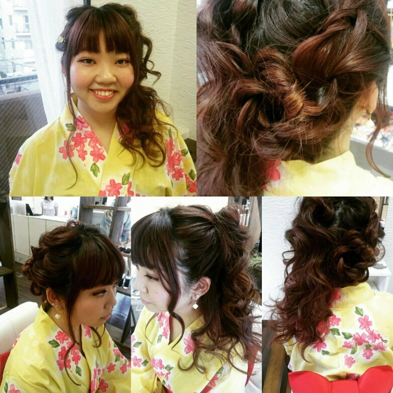 フェミニン ガーリー ロング ヘアアレンジヘアスタイルや髪型の写真・画像