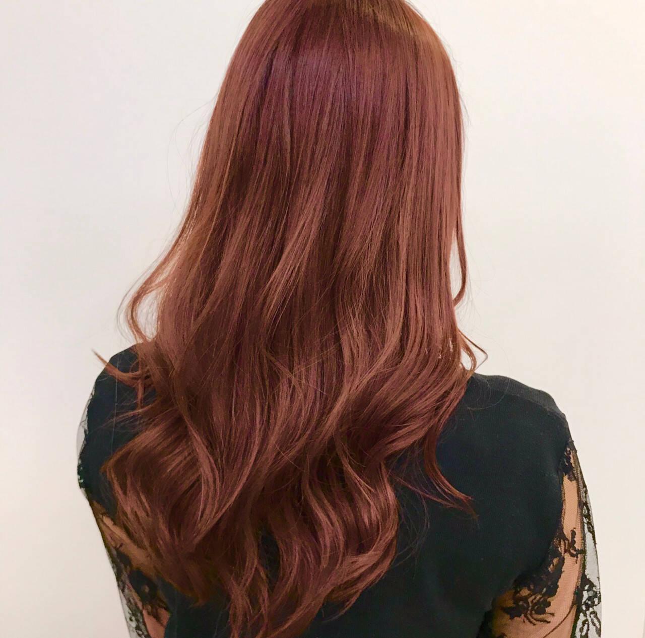 ピンクブラウン ピンク フェミニン レッドブラウンヘアスタイルや髪型の写真・画像