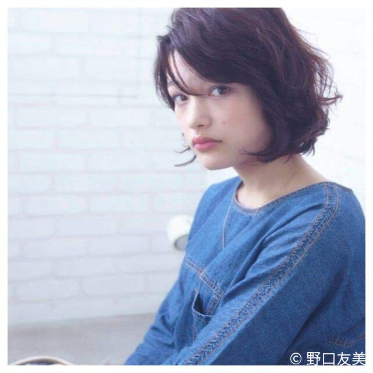 暗髪 大人かわいい パーマ ボブヘアスタイルや髪型の写真・画像
