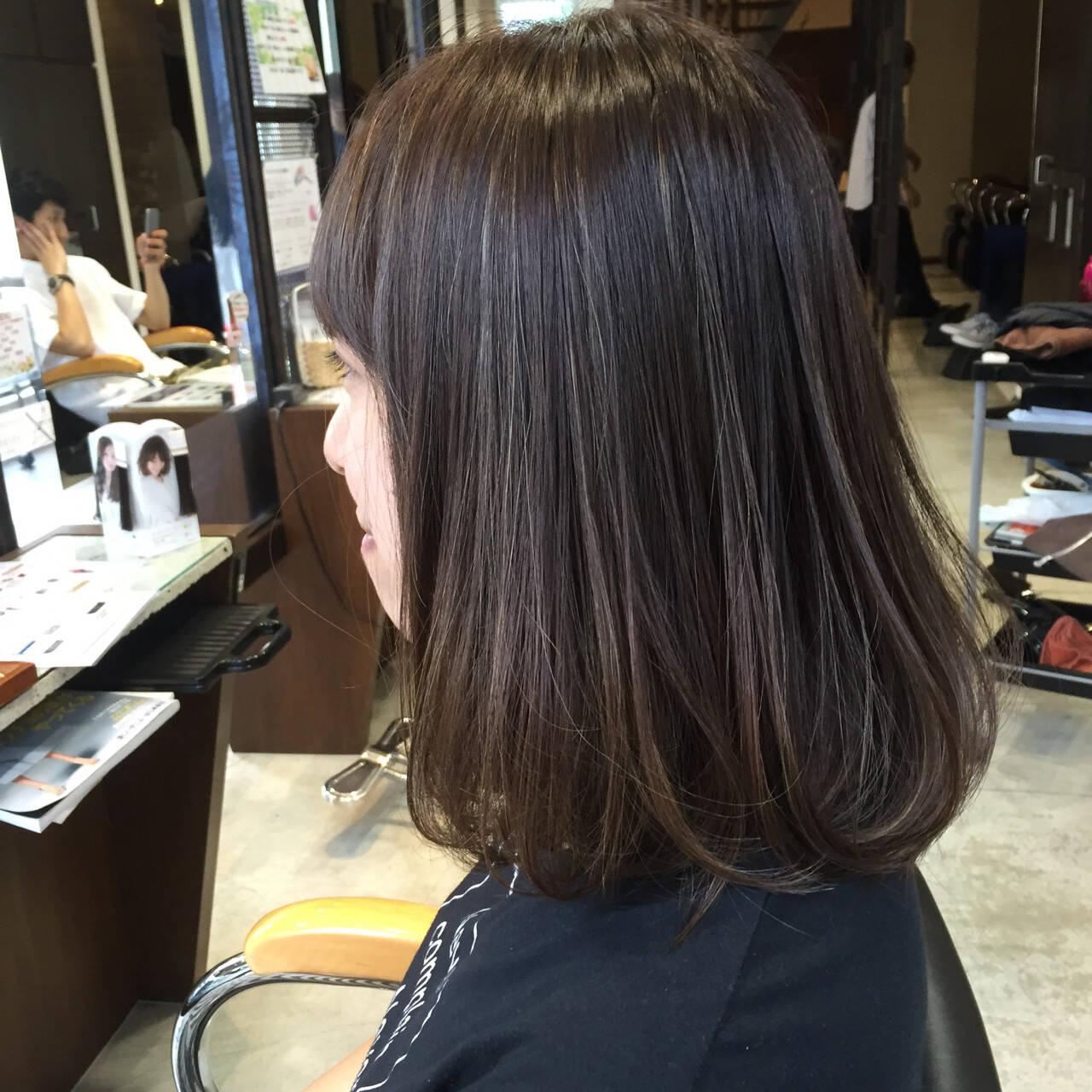 ハイライト ナチュラル 暗髪 ボブヘアスタイルや髪型の写真・画像