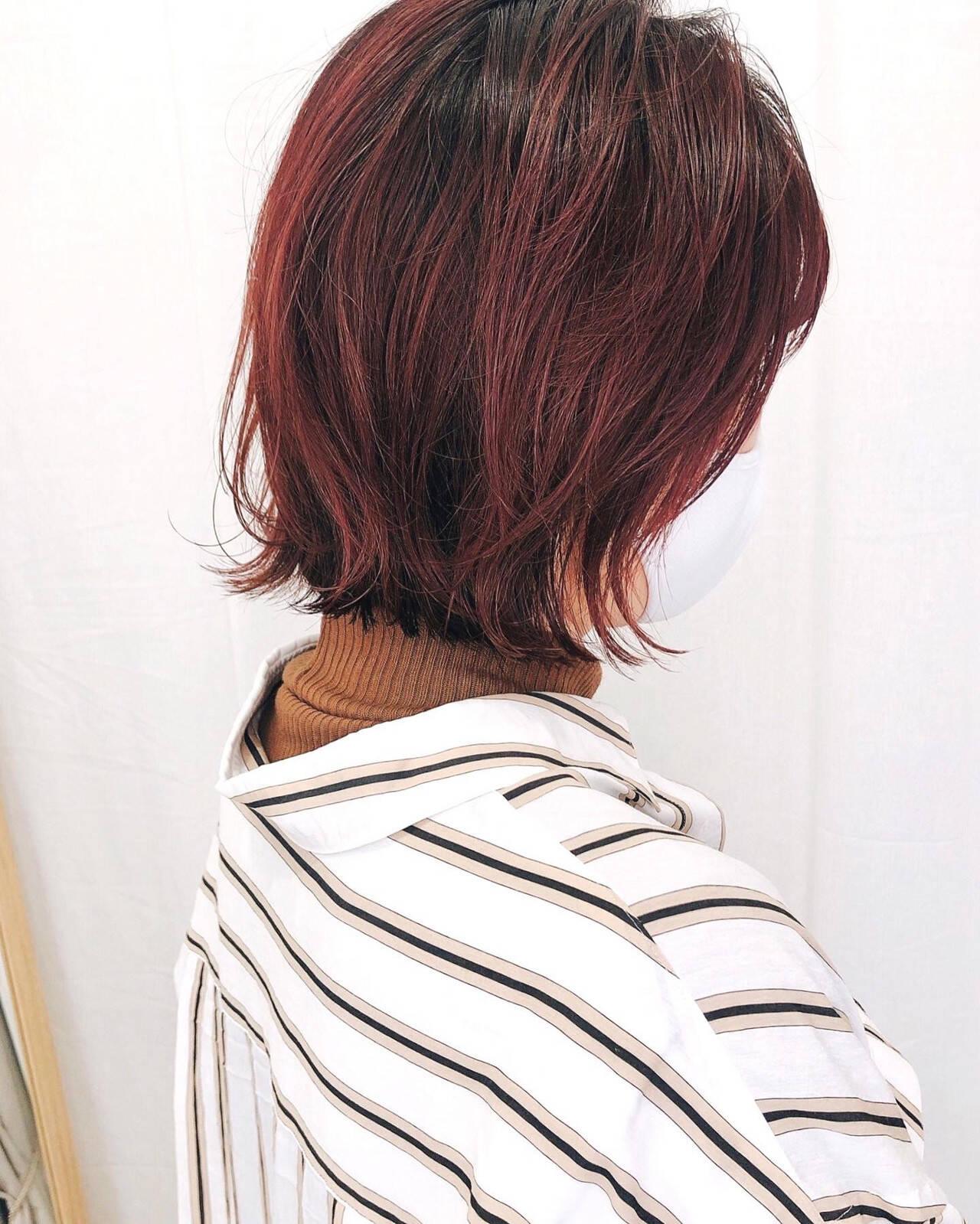 ストリート ミニボブ グラデーションカラー インナーカラーヘアスタイルや髪型の写真・画像
