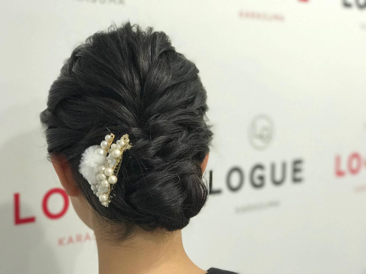 アップスタイル 編み込み セミロング ヘアアレンジヘアスタイルや髪型の写真・画像