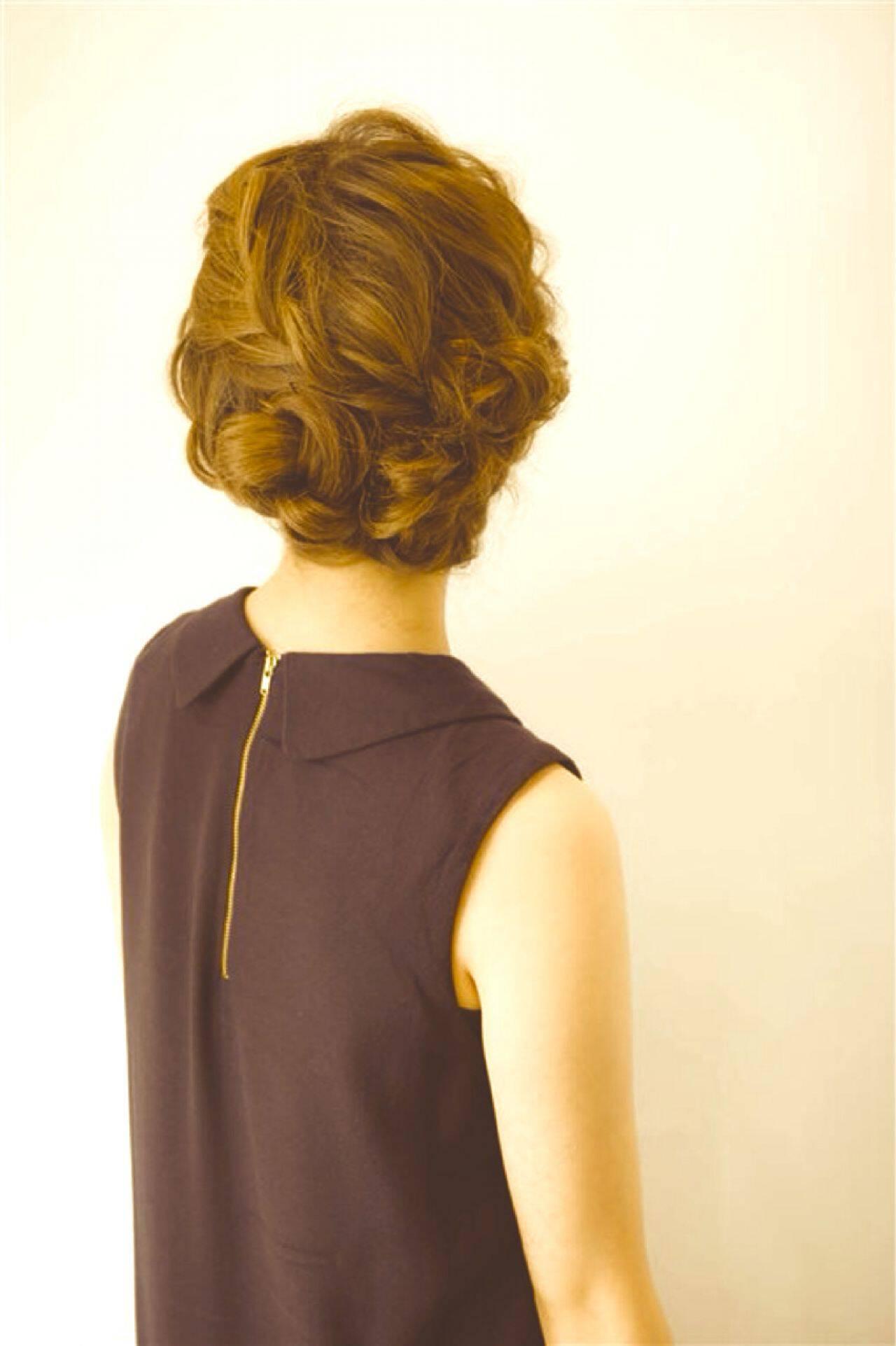 ヘアアレンジ ガーリー 大人女子 ミディアムヘアスタイルや髪型の写真・画像