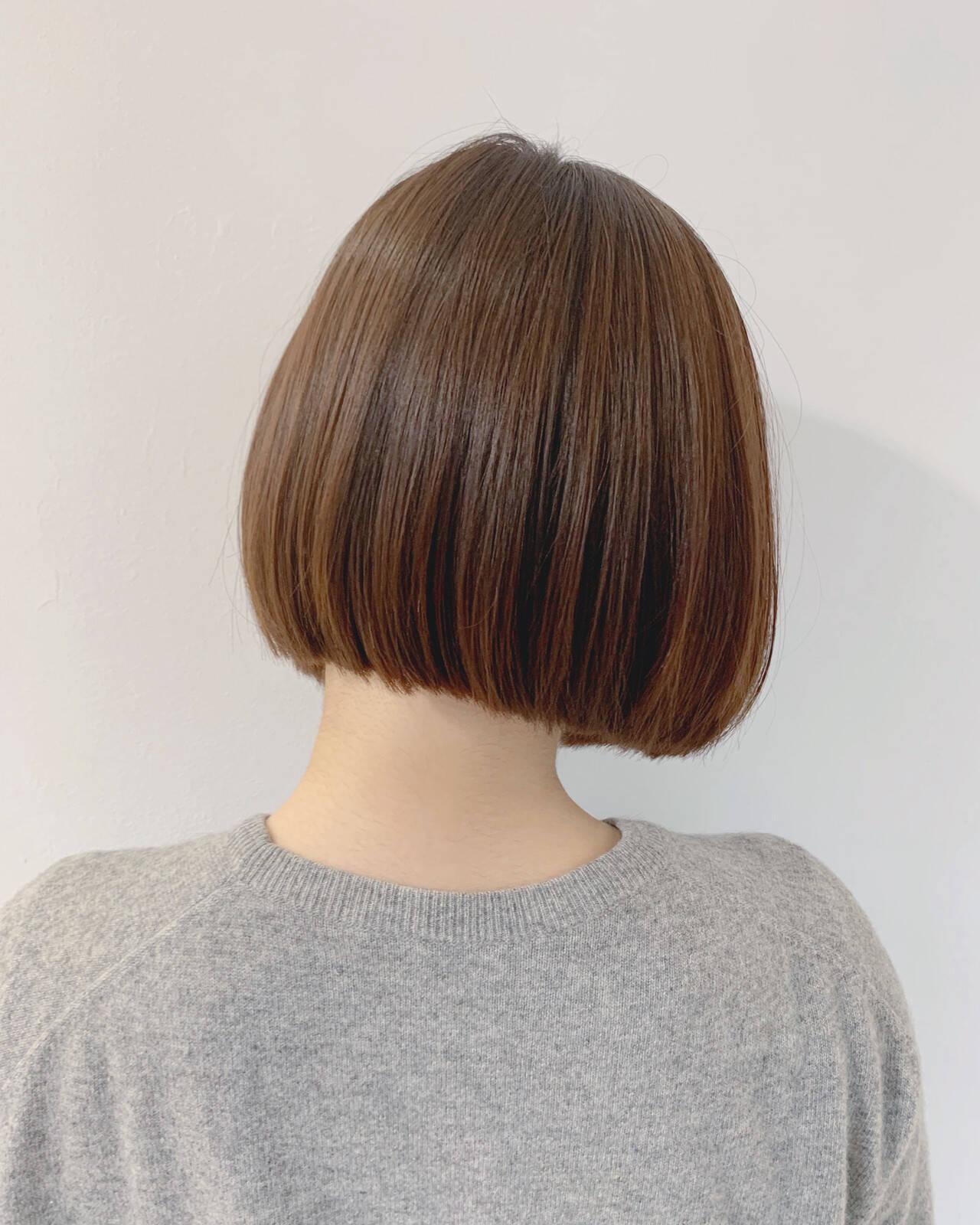 ミニボブ ストレート 前下がりボブ ボブヘアスタイルや髪型の写真・画像