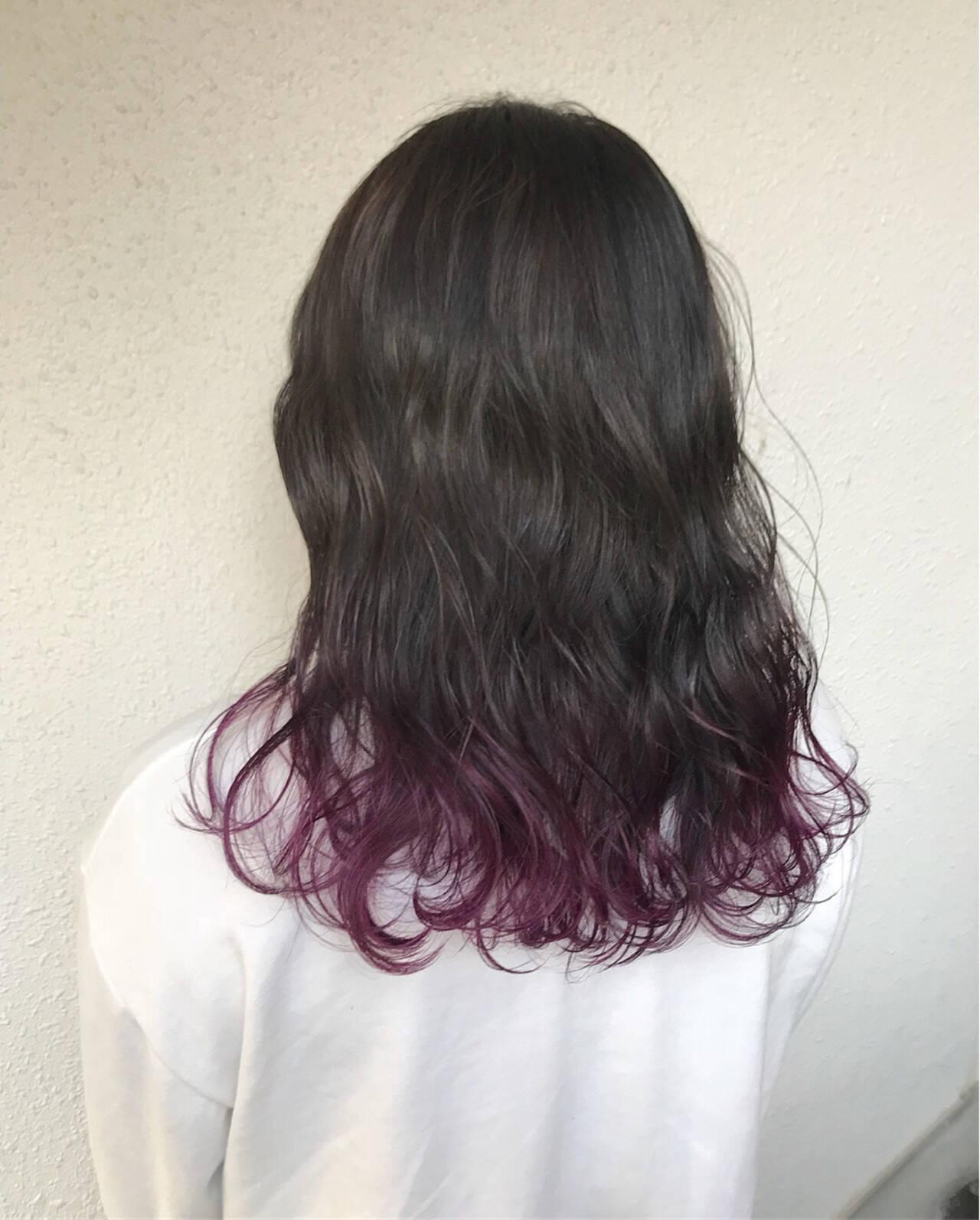ダブルカラー セミロング ハイトーン 外国人風ヘアスタイルや髪型の写真・画像
