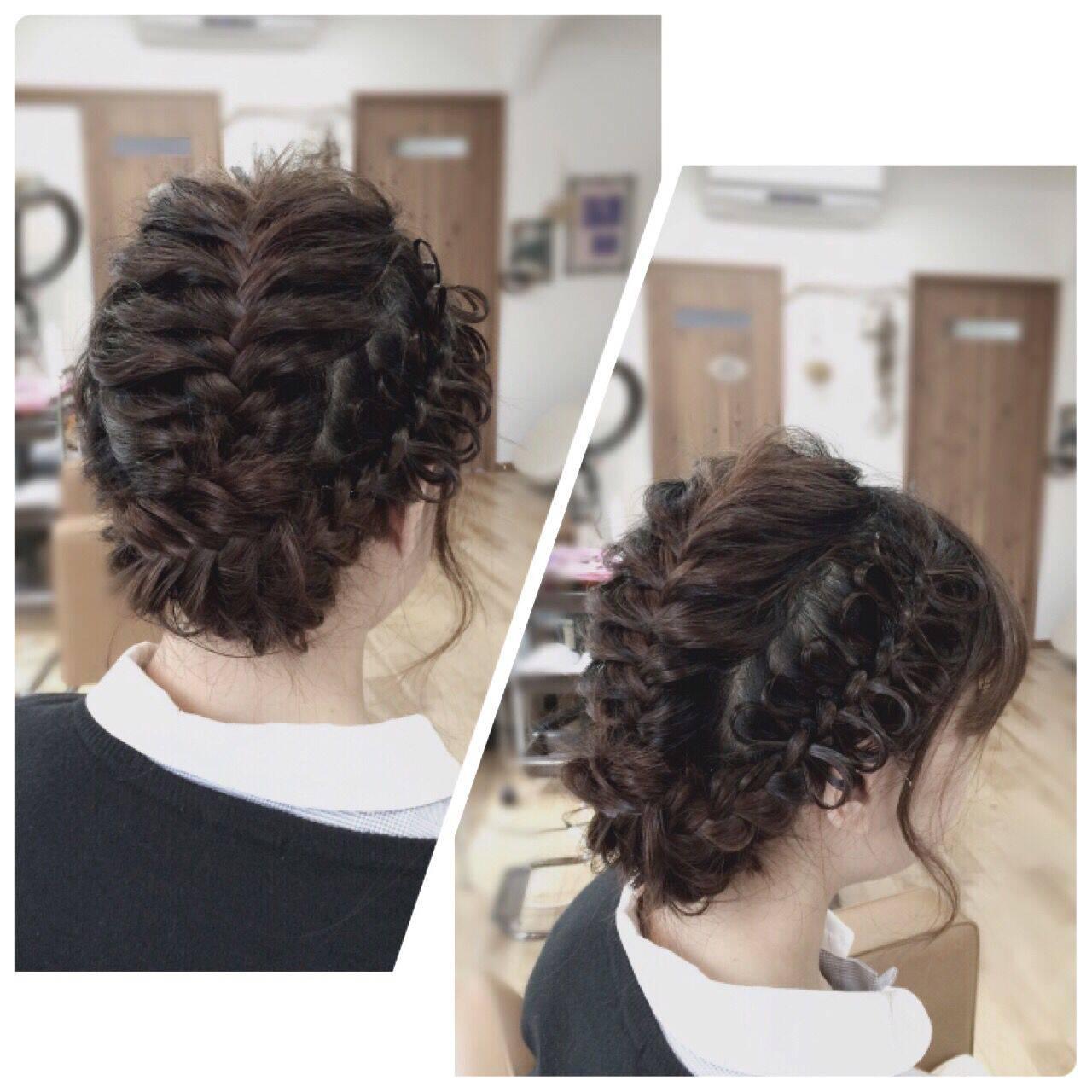 コンサバ アップスタイル ロング 編み込みヘアスタイルや髪型の写真・画像