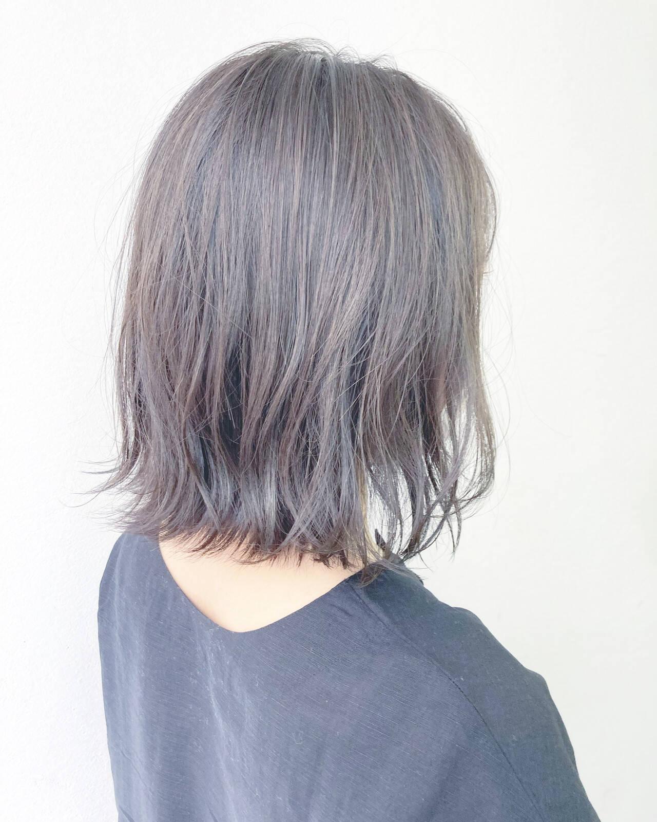 ナチュラル ミディアム 前髪 透明感カラーヘアスタイルや髪型の写真・画像