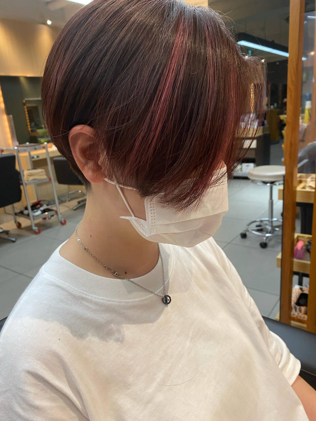 ツーブロック ハイライト ハンサムショート ピンクヘアスタイルや髪型の写真・画像