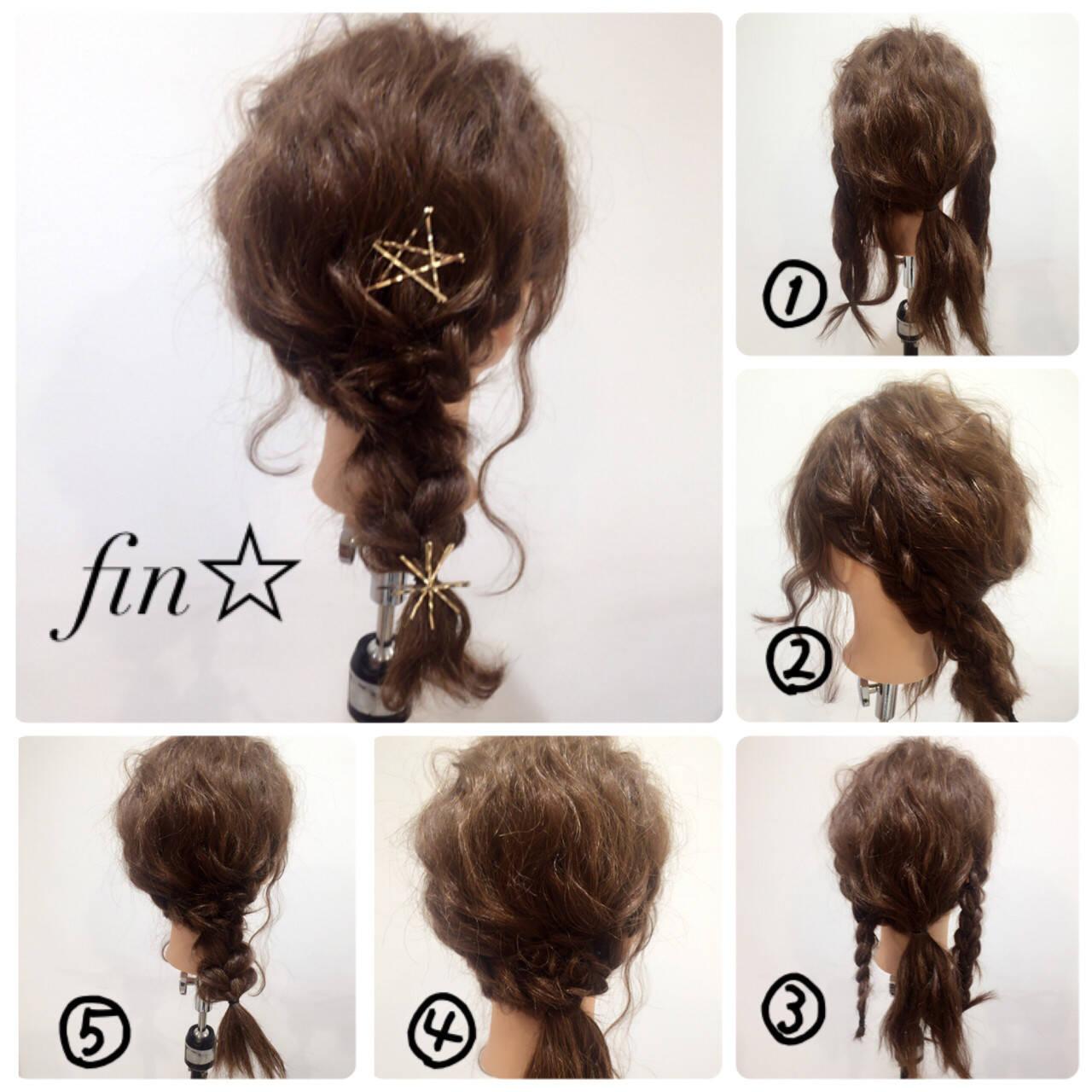 セミロング ヘアアレンジ 結婚式 簡単ヘアアレンジヘアスタイルや髪型の写真・画像