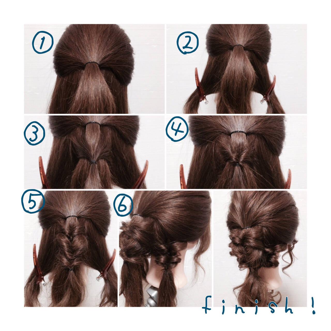 簡単ヘアアレンジ セミロング くるりんぱ ショートヘアスタイルや髪型の写真・画像