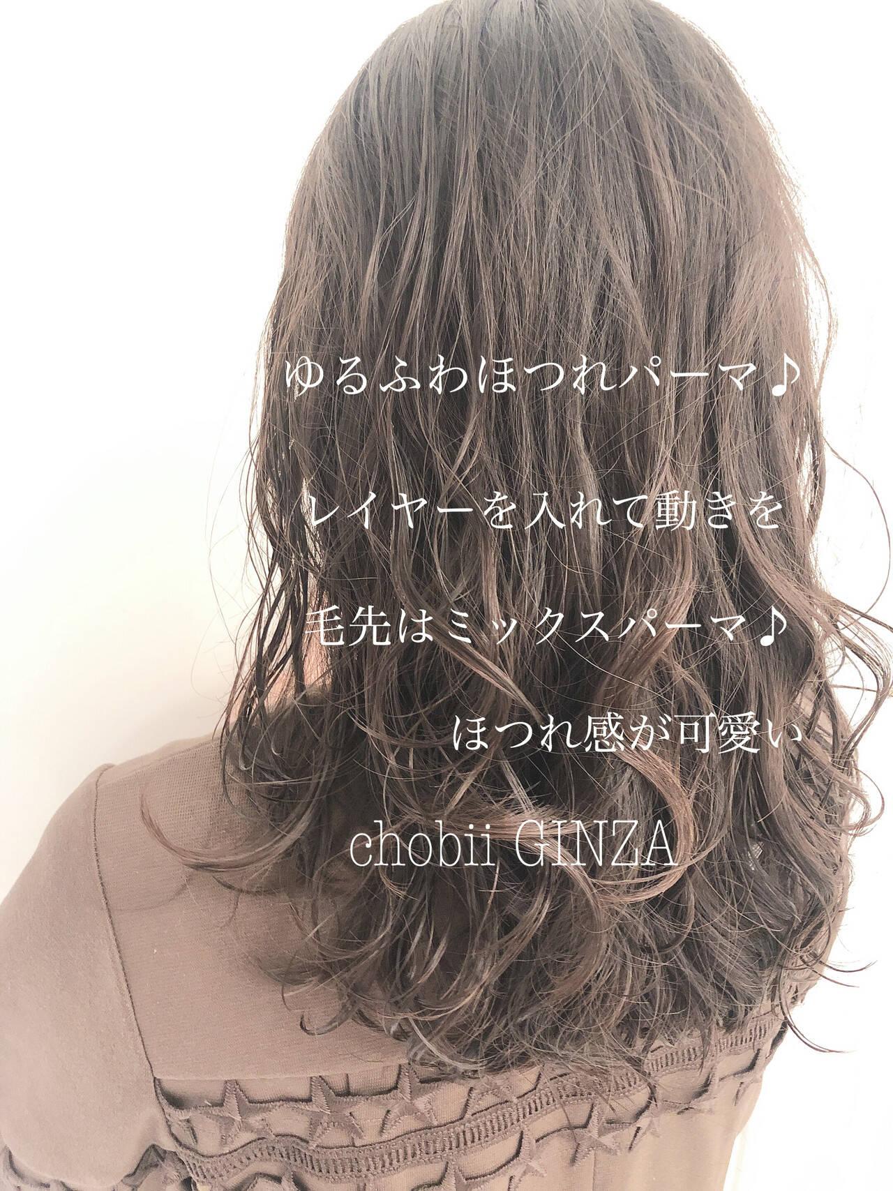 ヘアスタイル 大人かわいい ゆるふわパーマ ナチュラルヘアスタイルや髪型の写真・画像