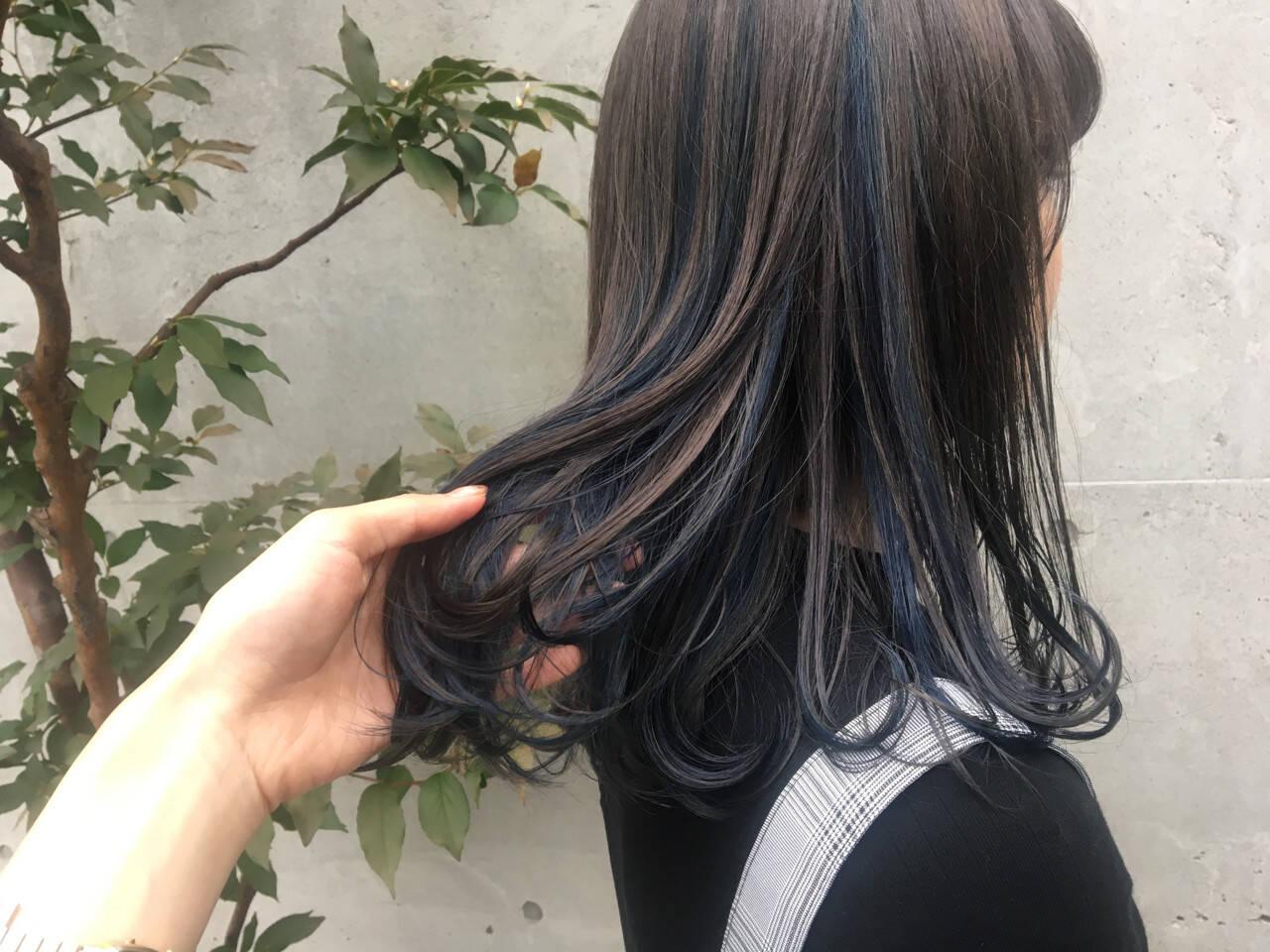 ミディアム ガーリー ハイライト ダブルカラーヘアスタイルや髪型の写真・画像