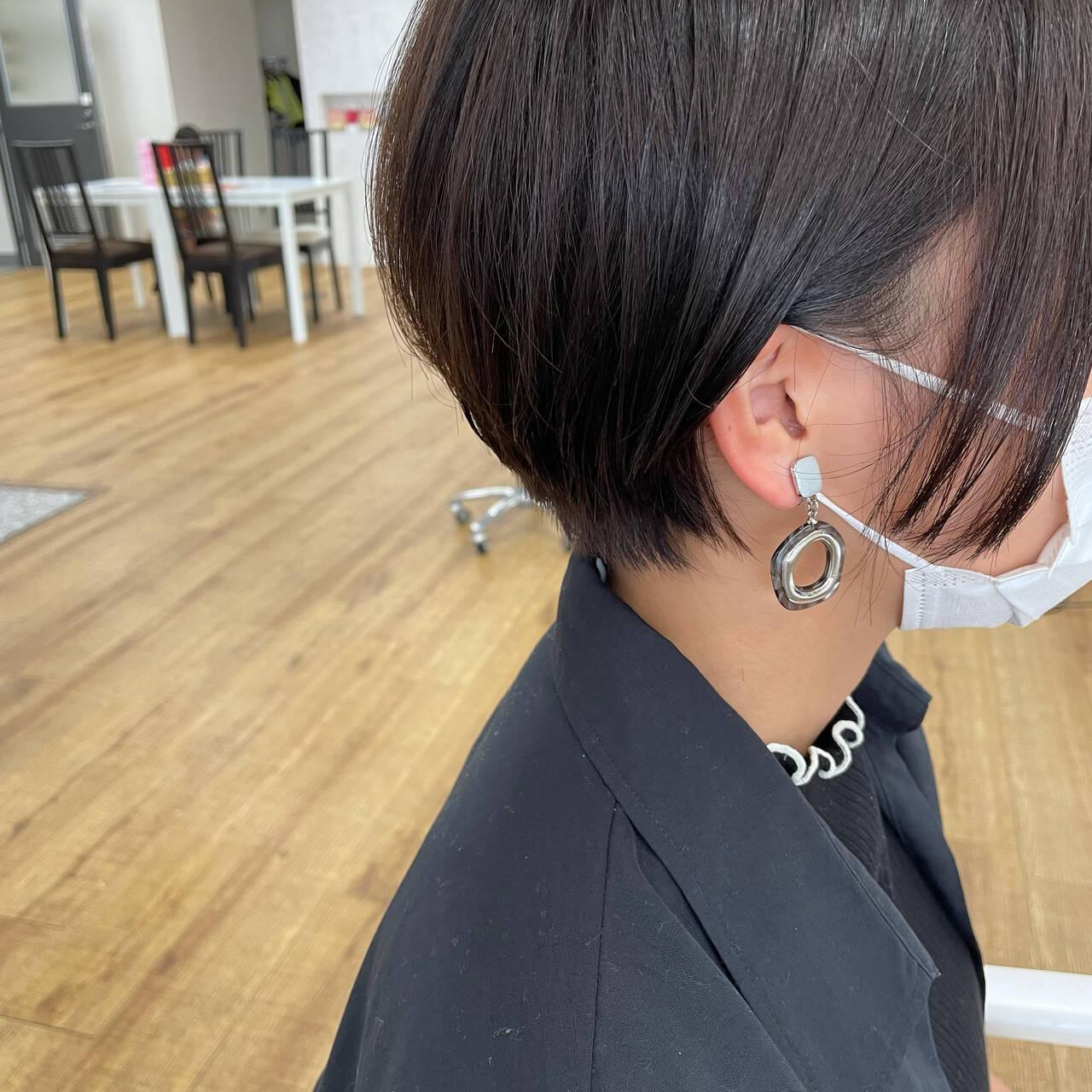ミニボブ ショートボブ ショート ベリーショートヘアスタイルや髪型の写真・画像