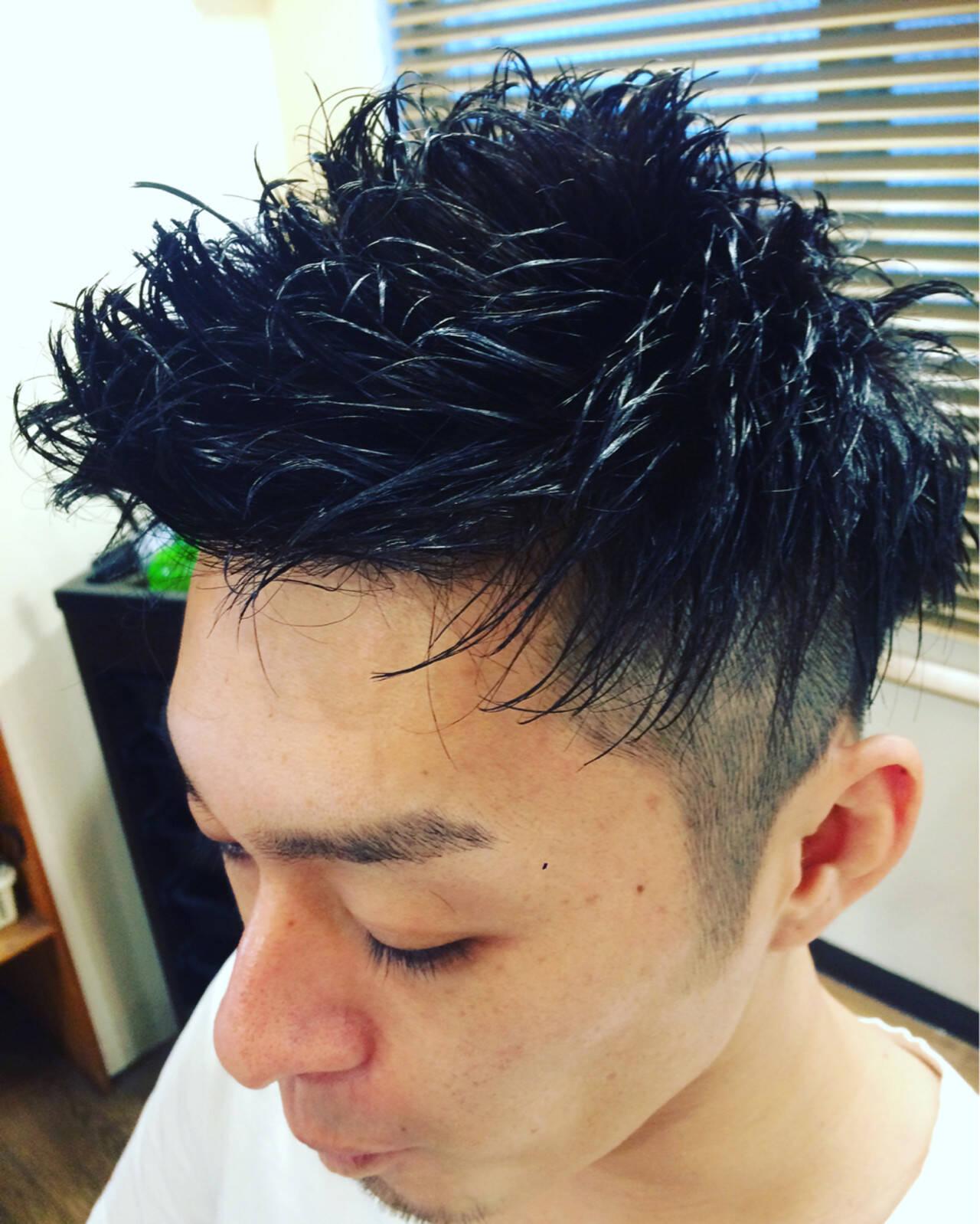 メンズ 坊主 黒髪 パーマヘアスタイルや髪型の写真・画像