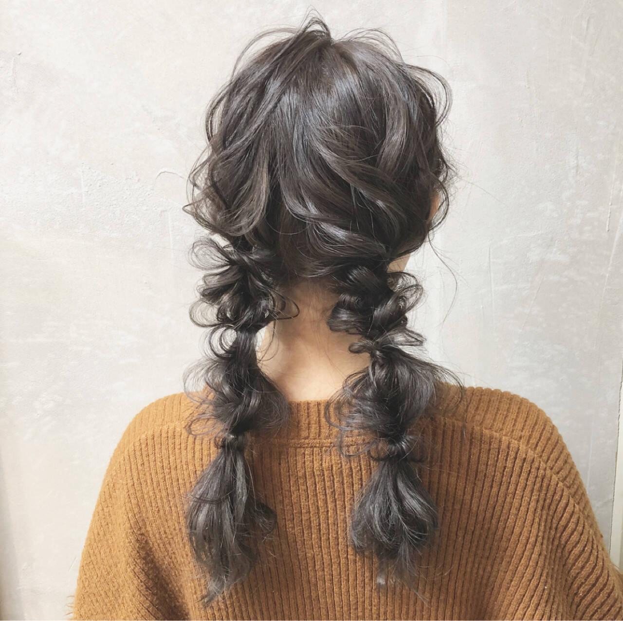 編みおろしツイン セミロング 編み込み 大人かわいいヘアスタイルや髪型の写真・画像