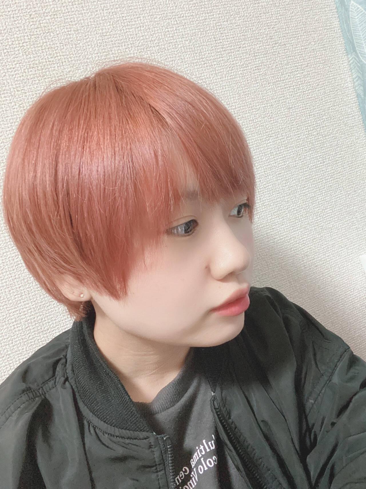 ピンクベージュ ショート フェミニン 髪質改善ヘアスタイルや髪型の写真・画像