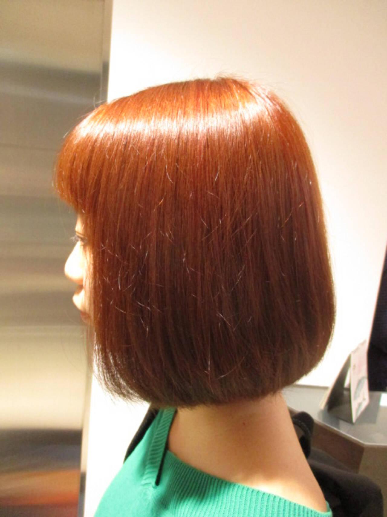 ボブ 艶髪 イルミナカラー オレンジヘアスタイルや髪型の写真・画像