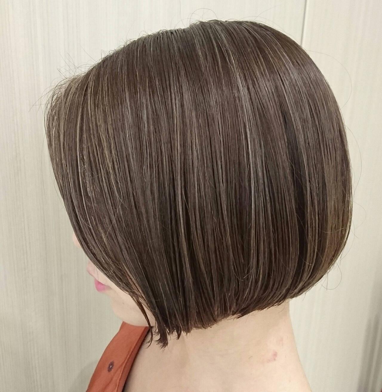 ミニボブ 簡単スタイリング ボブ ハイライトヘアスタイルや髪型の写真・画像