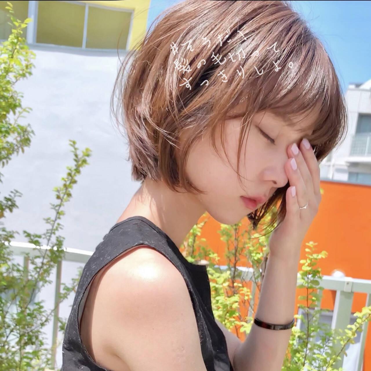 ナチュラル ショート パーマ ヘアアレンジヘアスタイルや髪型の写真・画像