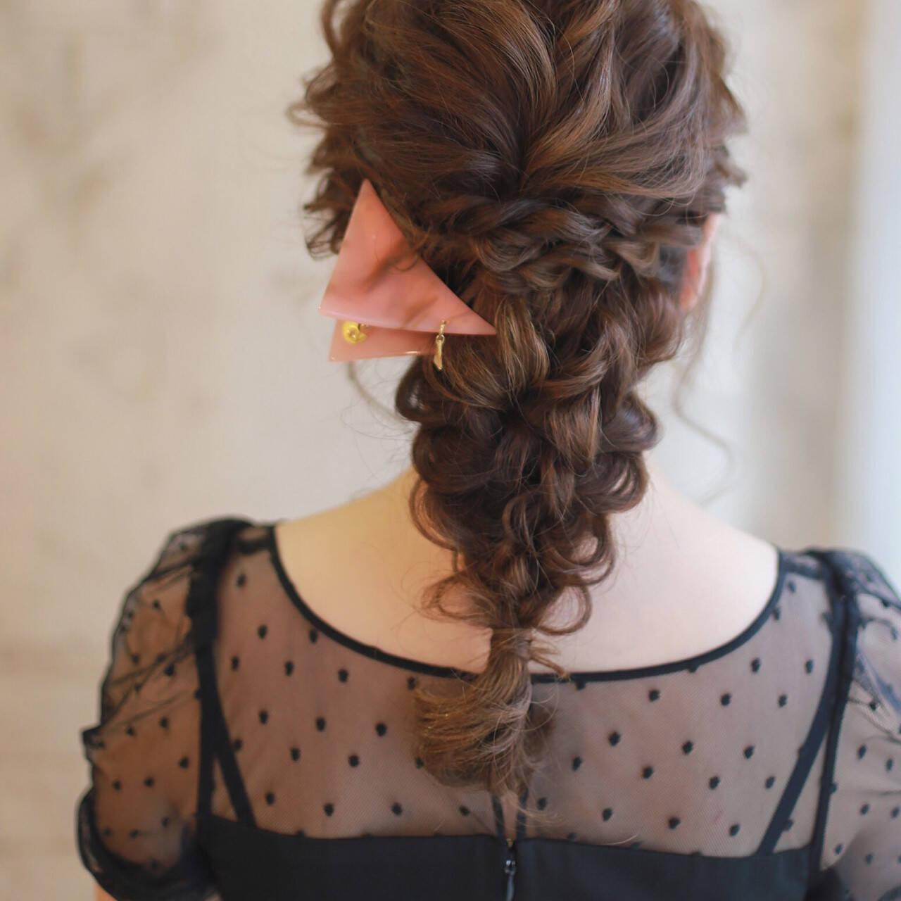 ヘアアレンジ ロング ハイライト ゆるふわヘアスタイルや髪型の写真・画像
