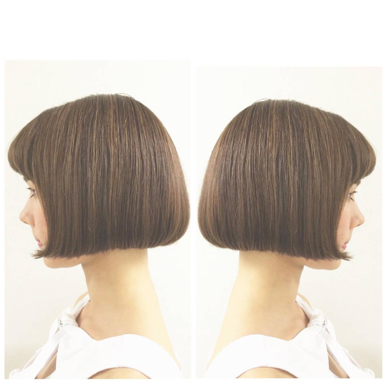 ワンレングス ナチュラル クラシカル ミニボブヘアスタイルや髪型の写真・画像