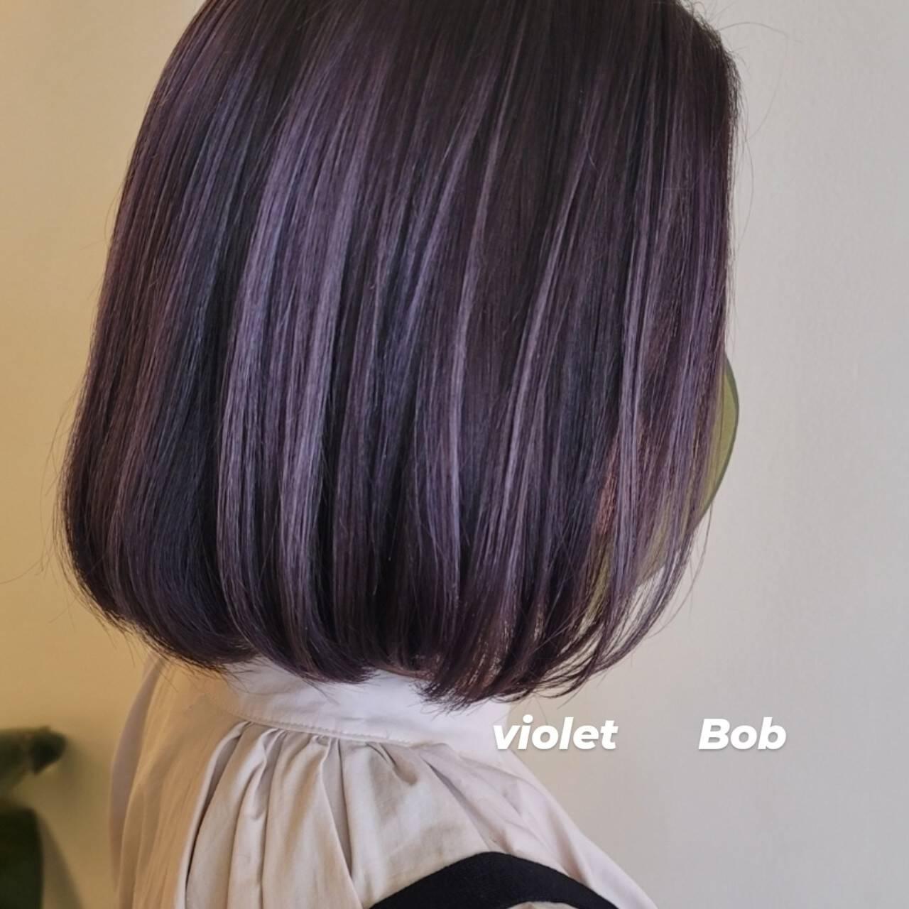 ブリーチ必須 ハイトーン バイオレットカラー モードヘアスタイルや髪型の写真・画像