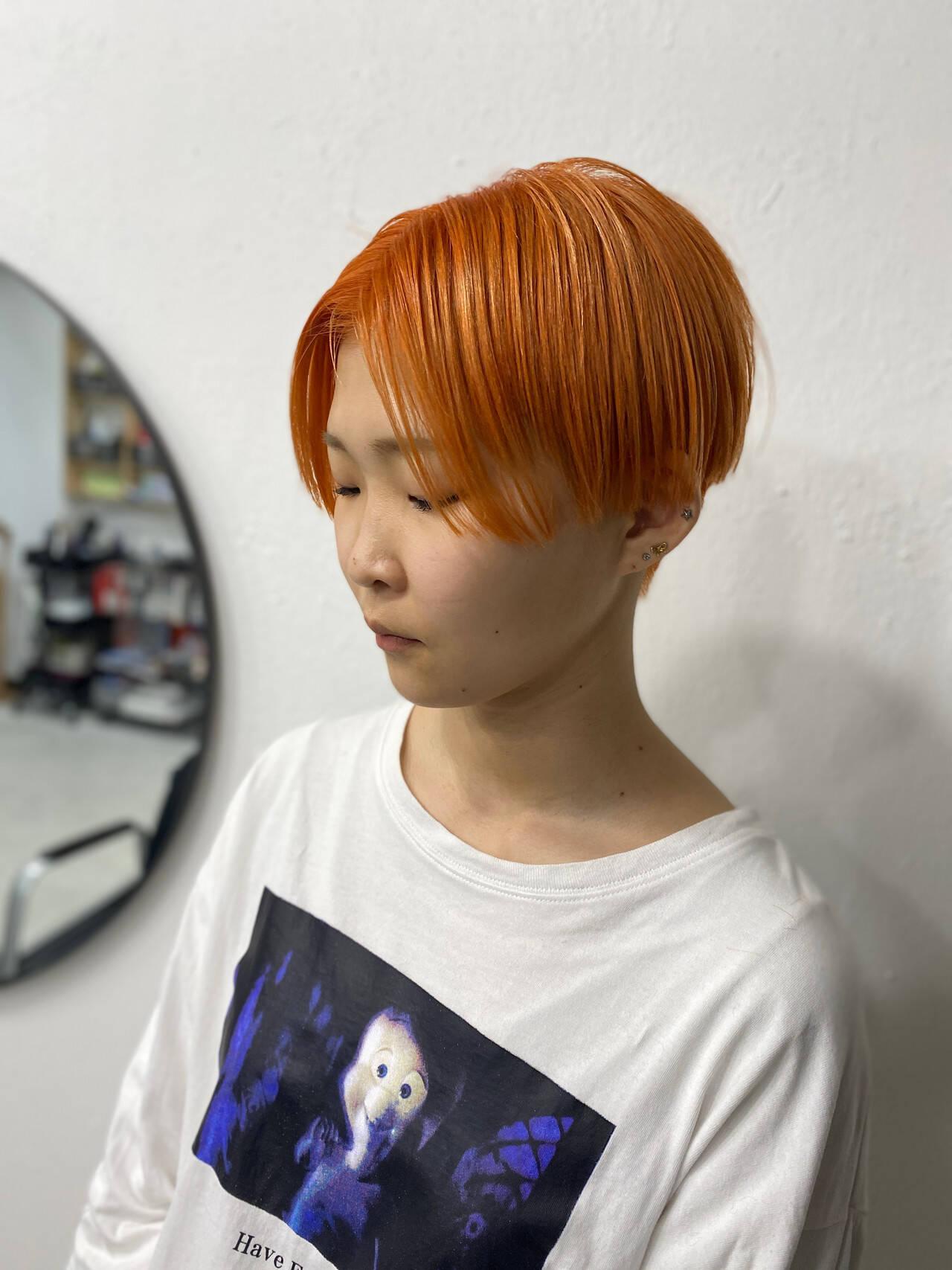 ナチュラル オレンジブラウン オレンジベージュ オレンジカラーヘアスタイルや髪型の写真・画像