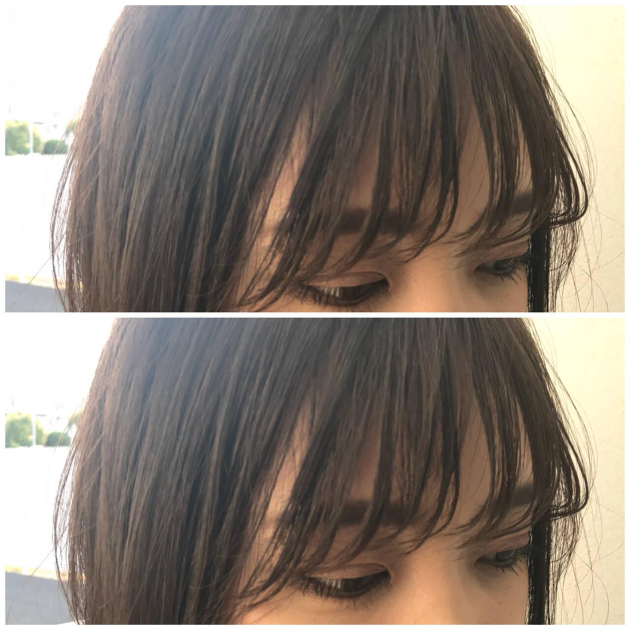 ストリート シースルーバング 前髪パッツン ロングヘアスタイルや髪型の写真・画像
