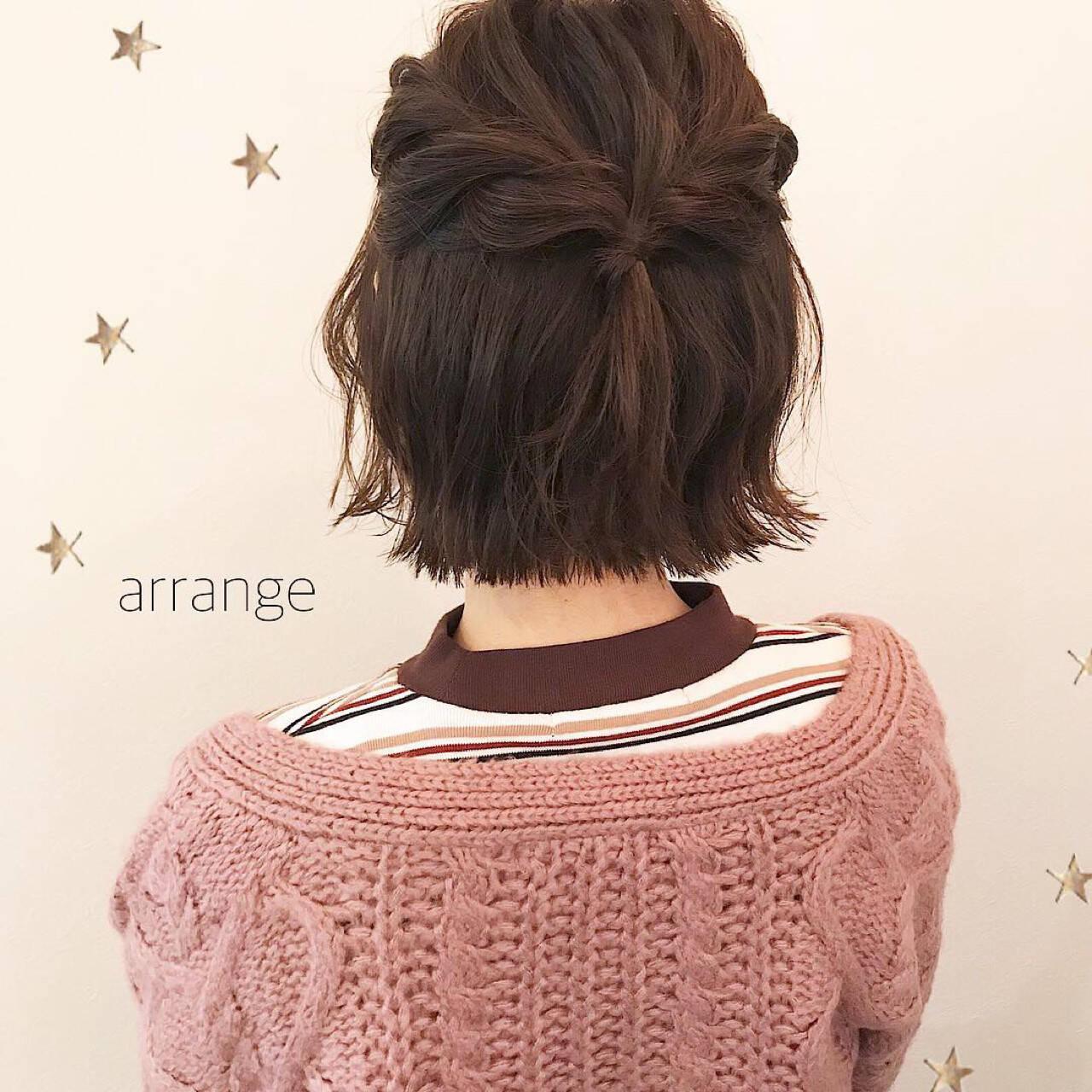 ショート 簡単ヘアアレンジ 切りっぱなし ナチュラルヘアスタイルや髪型の写真・画像